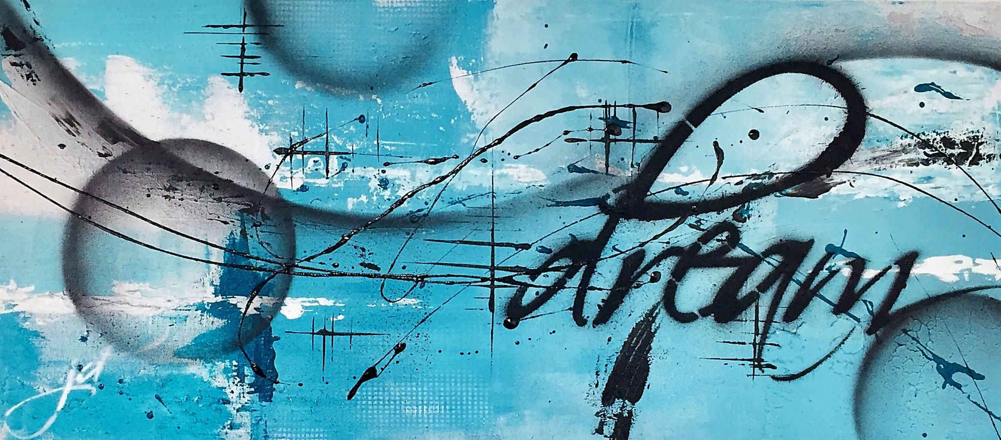 40 x 90 cm / floating dream / Canvas and Mixmedia / 2016