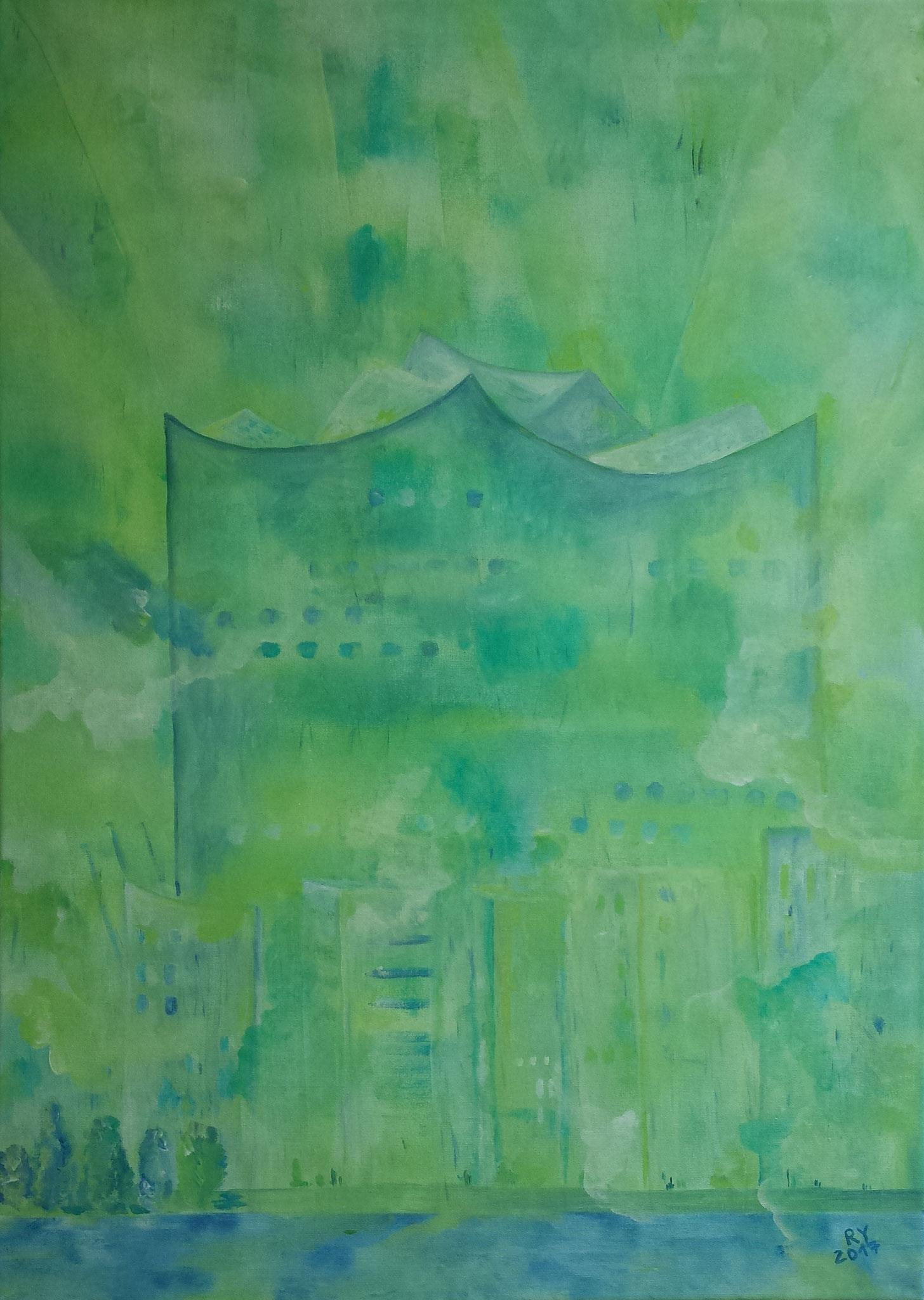 grüne Elbphilharmonie, 50x70, Acryl auf Leinwand