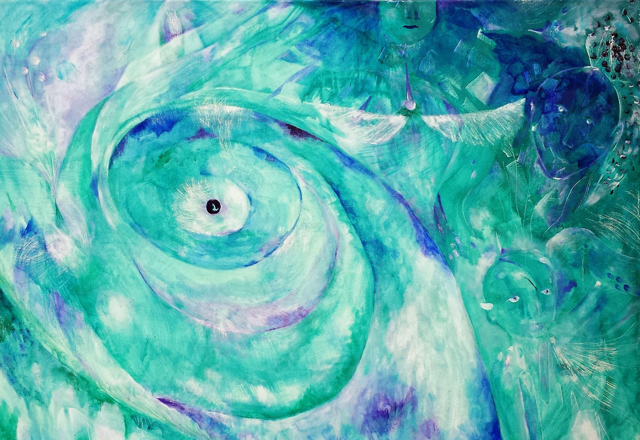 """Im Auge des Orkans"" 100 x 70 x 4, Acryl auf Leinwand"