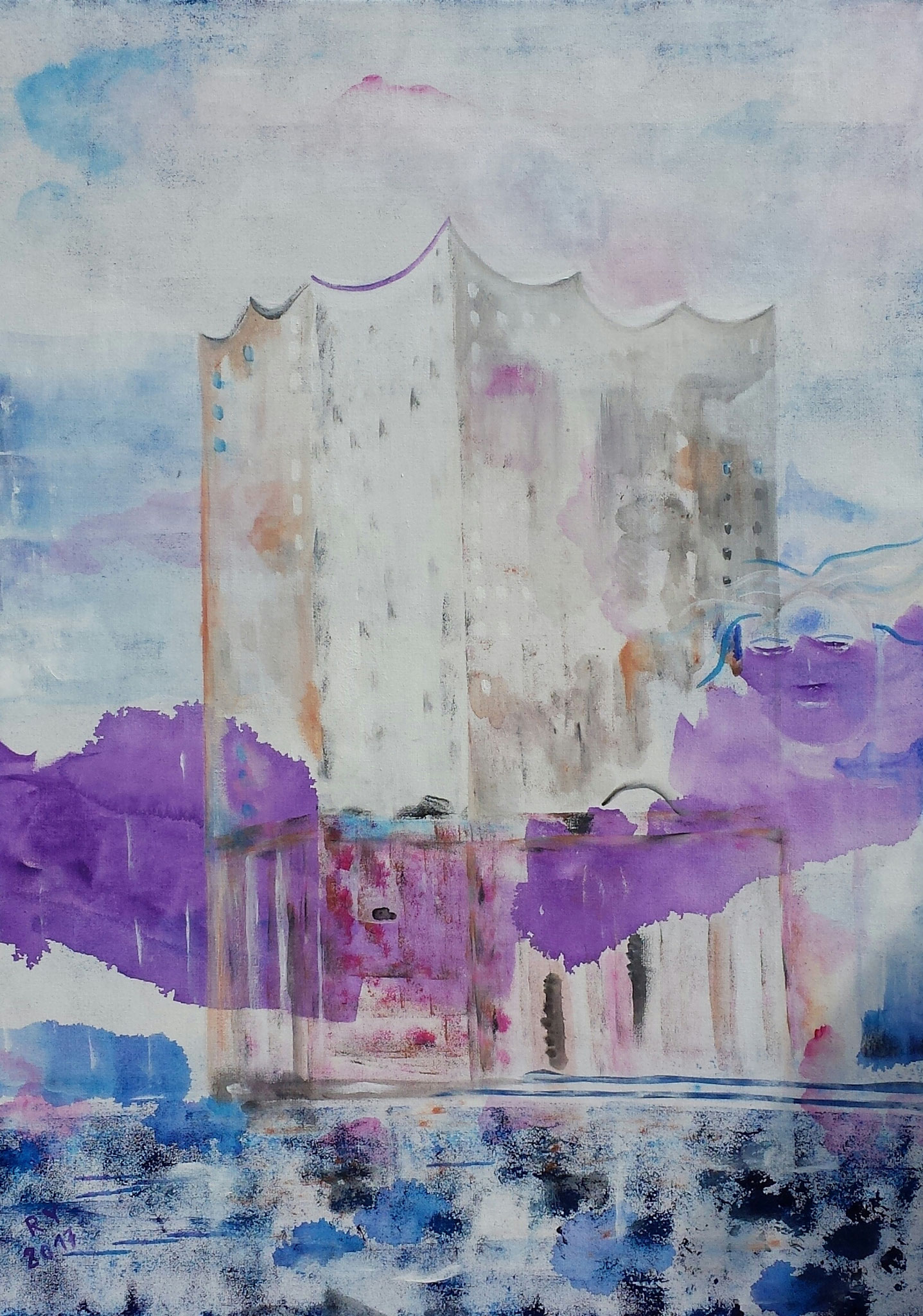 Elbphilharmonie mit Spirit, 50x70, Acryl auf Leinwand