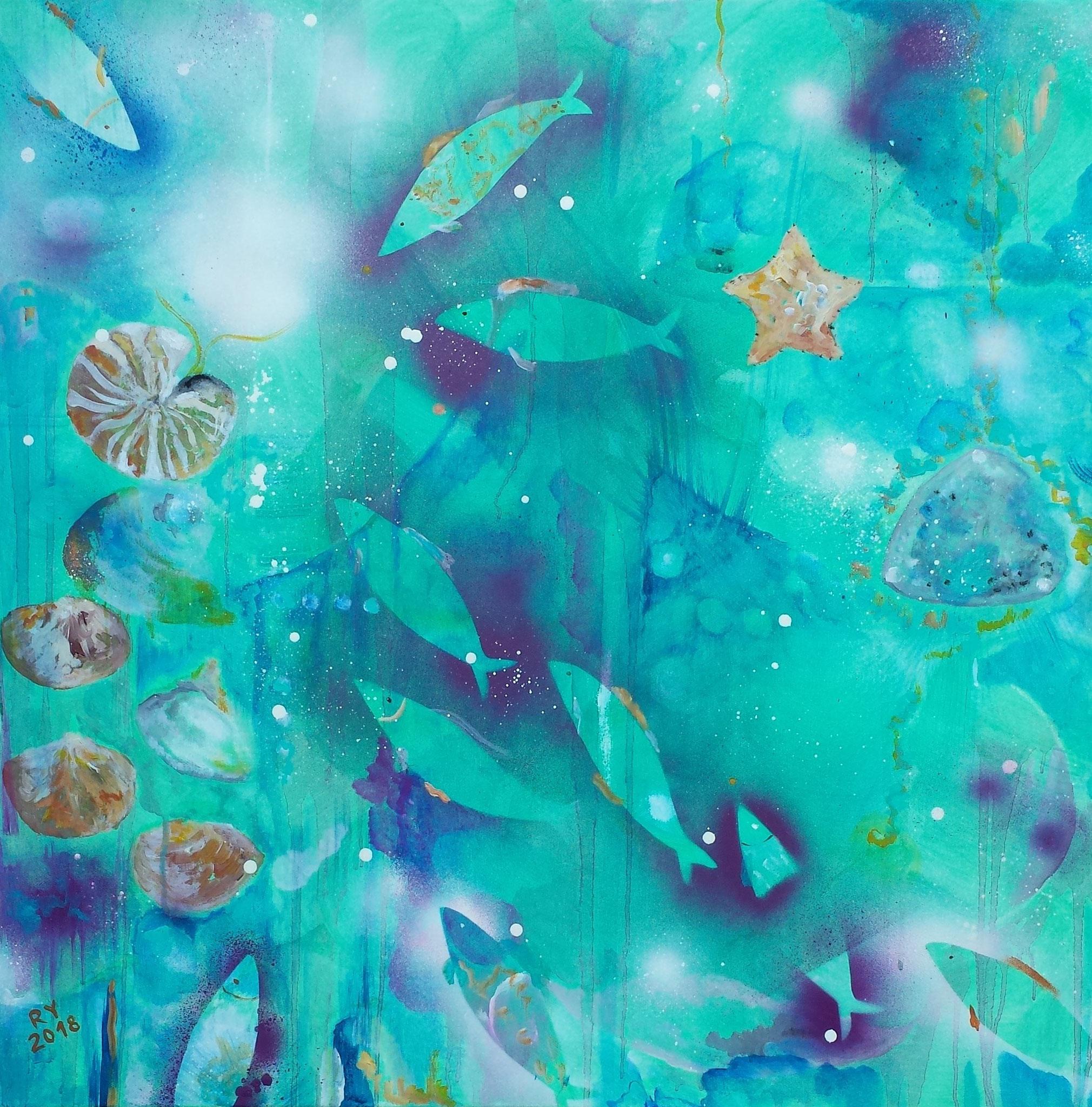 10 Fische, 80 x80, Acryl auf Leinwand