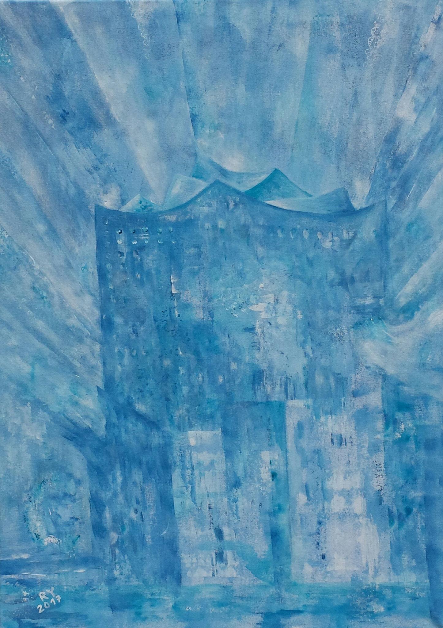 blaue Elbphilharmonie, 50x70, Acryl auf Leinwand