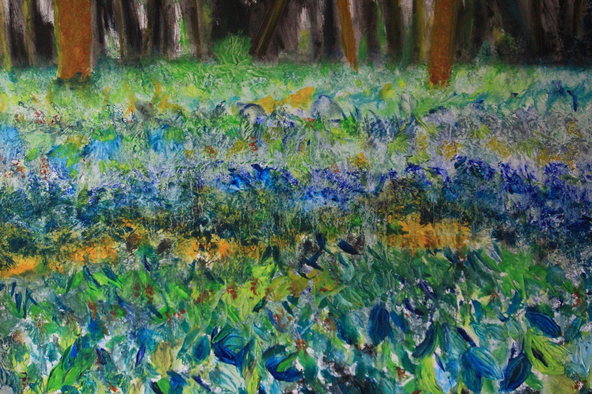 Meertje van Brasser 6, zicht op het bos om het meertje van Brasser, noordkant, 100-80, olieverf, 2018