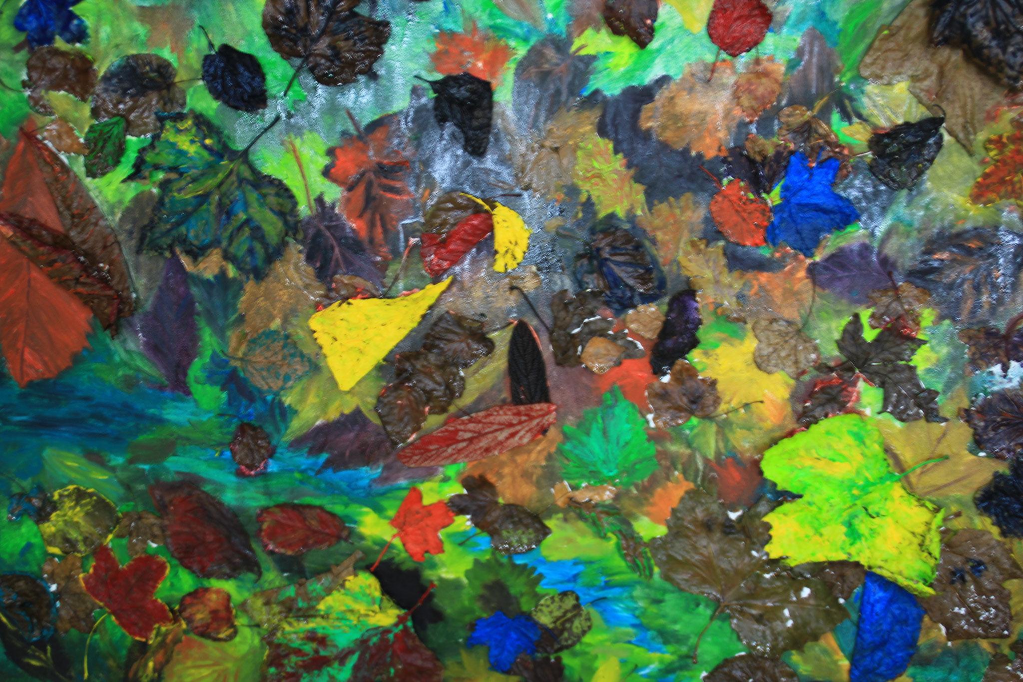 No Horizons 3, bladeren en olieverf , 2017, (262)