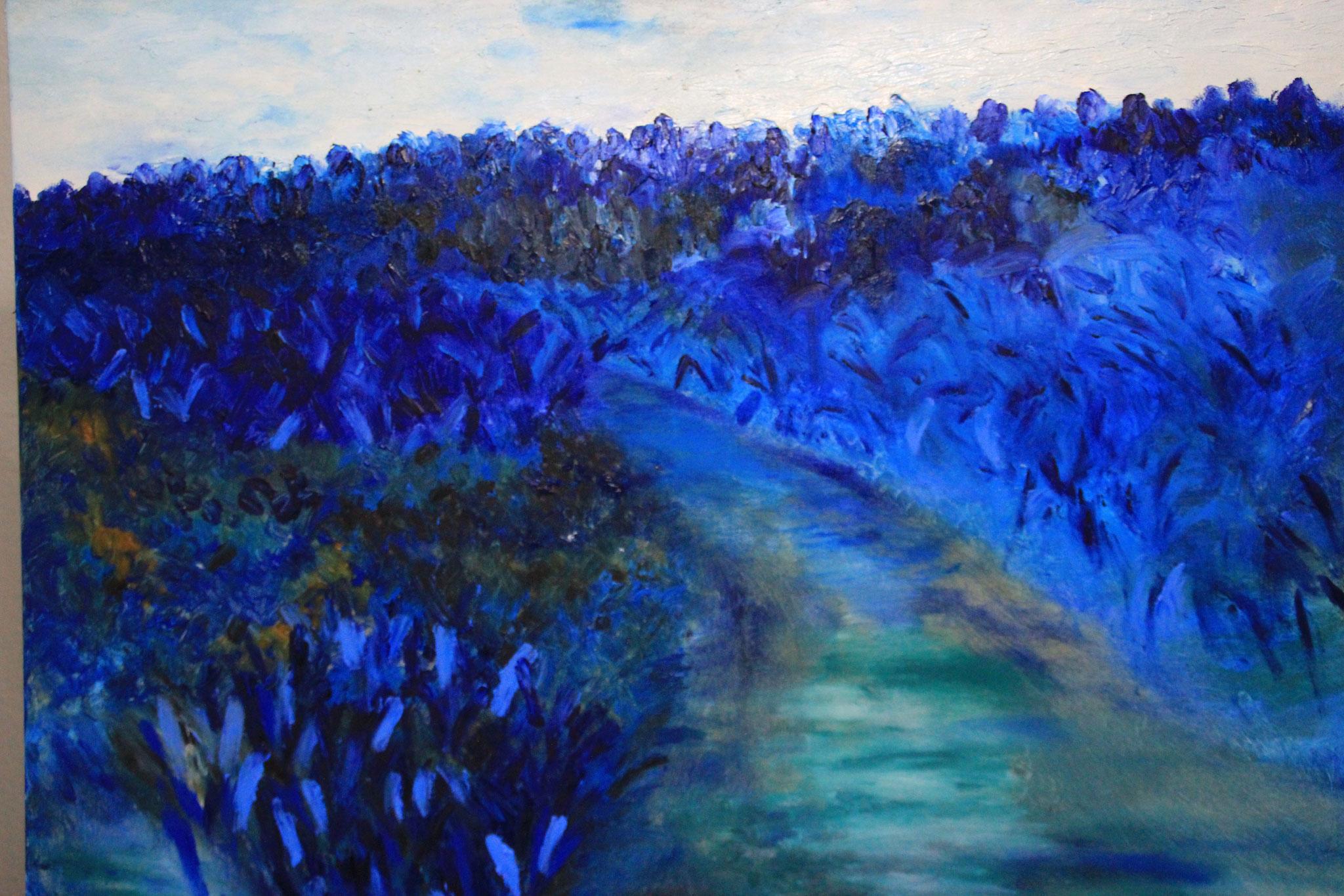 Blauwe pad in het bos, olieverf, 2019, 100-80 cm