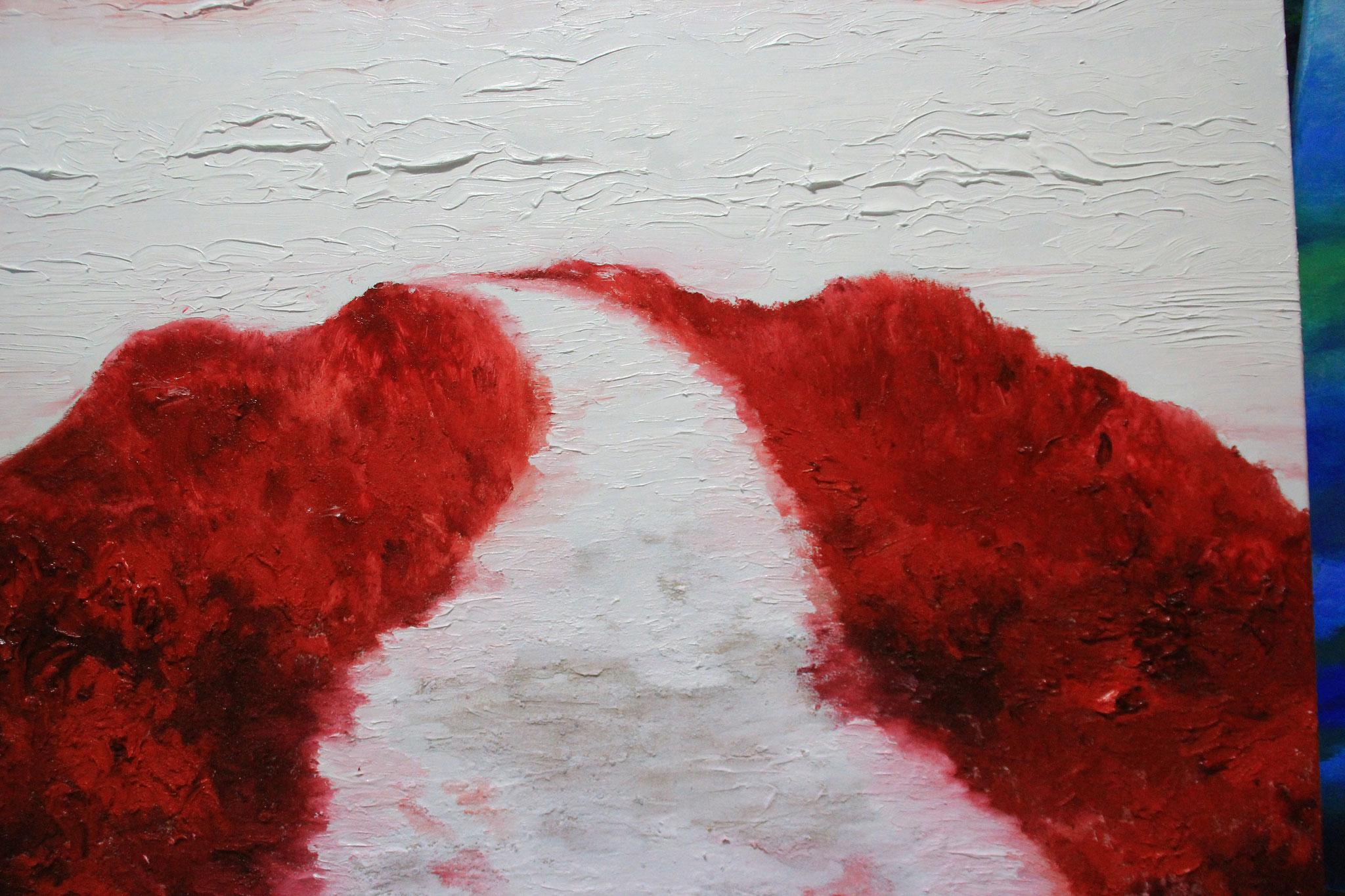 Wit pad naar rode duinen, olieverf, 2019, 100-80