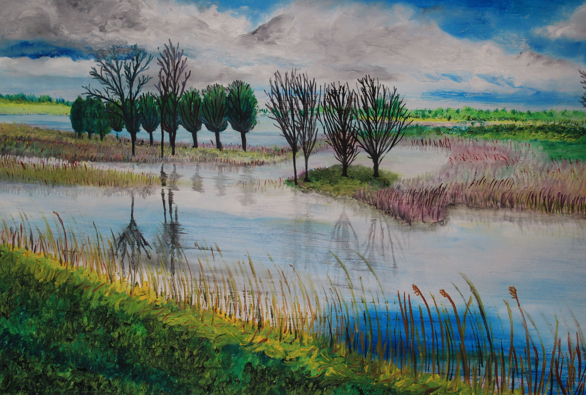 Zwols polderlandschap, olieverf, 2020, 100-60 cm