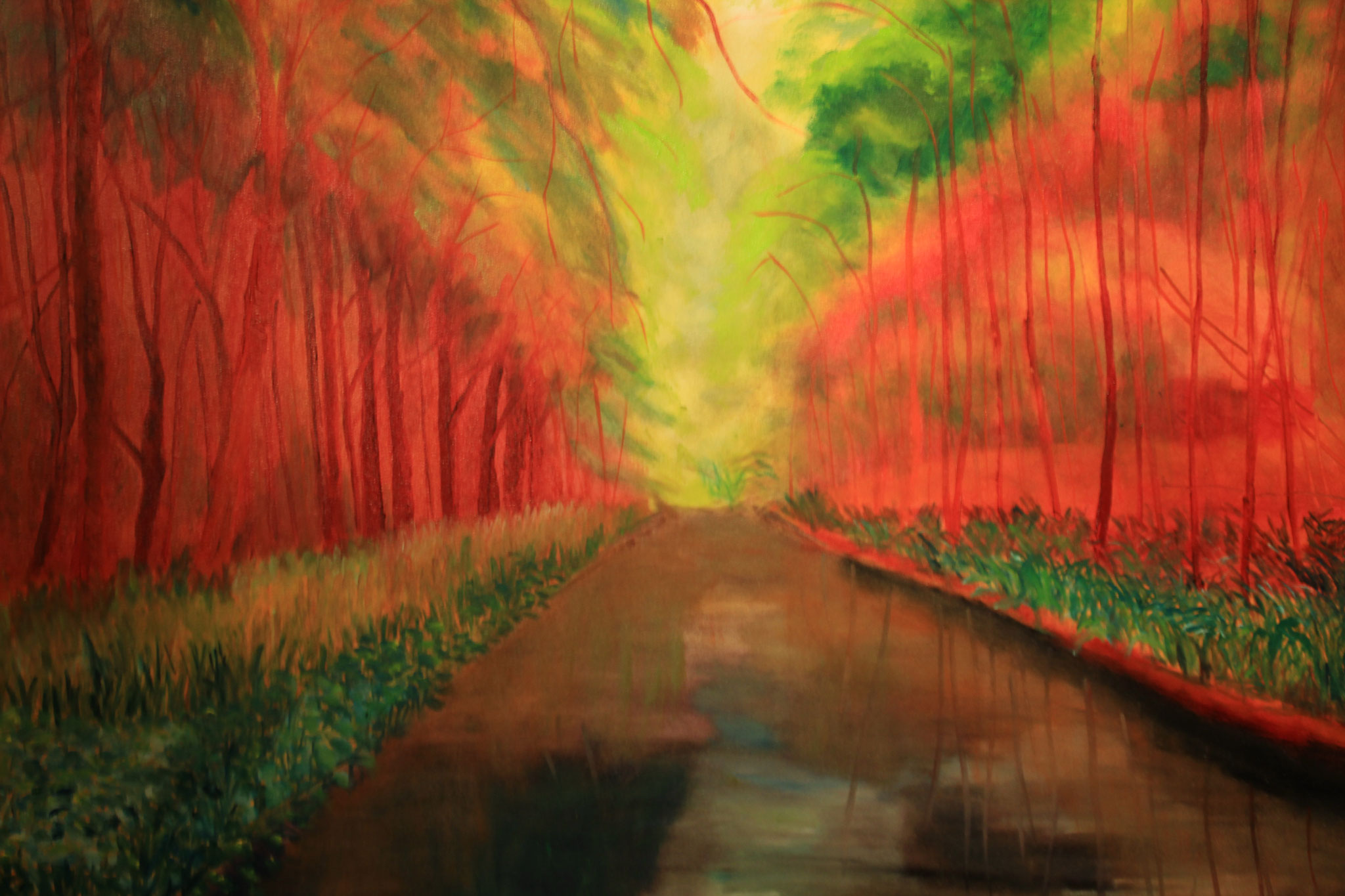Landgoed Marquette 6, rode bomen, olieverf, 2017 (196)