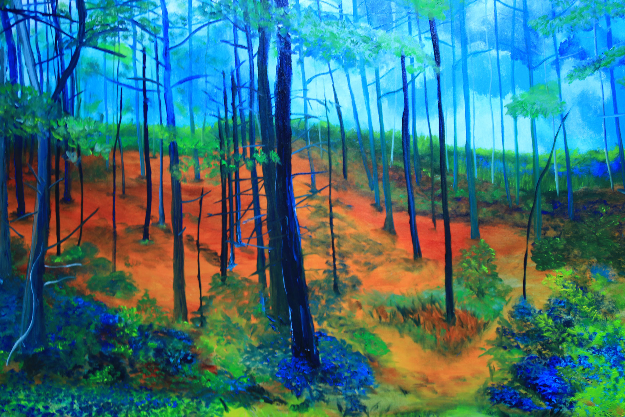 Door het bos 1, olieverf, 2016 (201), verkocht