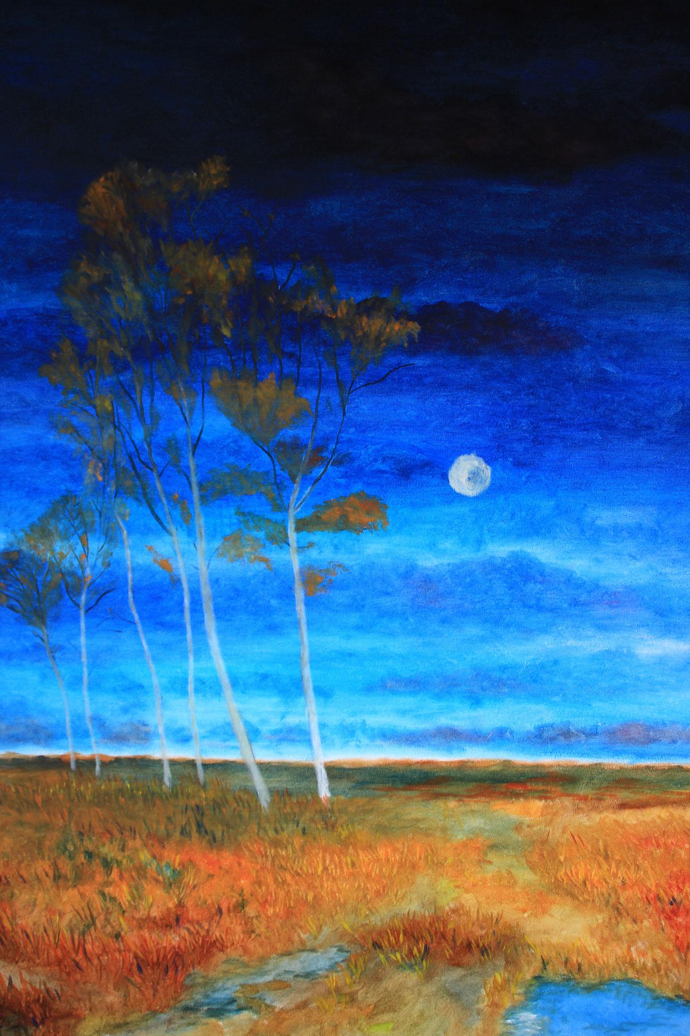 Berken met maan, naar Worpswede, olieverf 2017 (239)