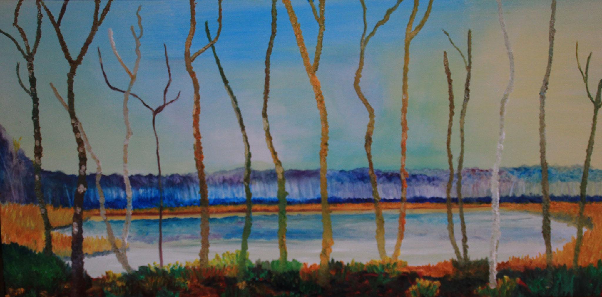 2. Berkenbomen, olieverf, 2020