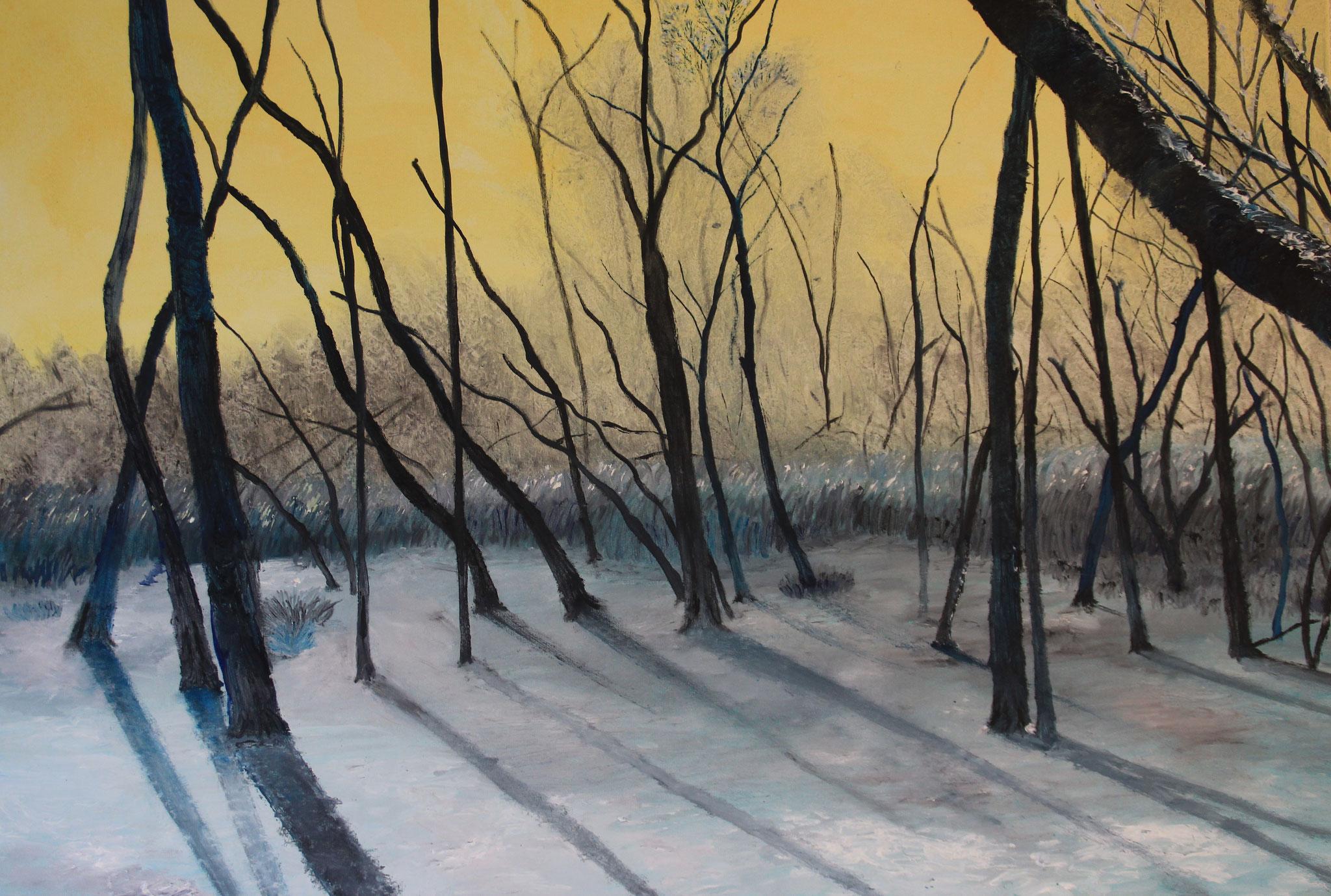 3. Sneeuw, licht en bos, 2019, olieverf, 80-60