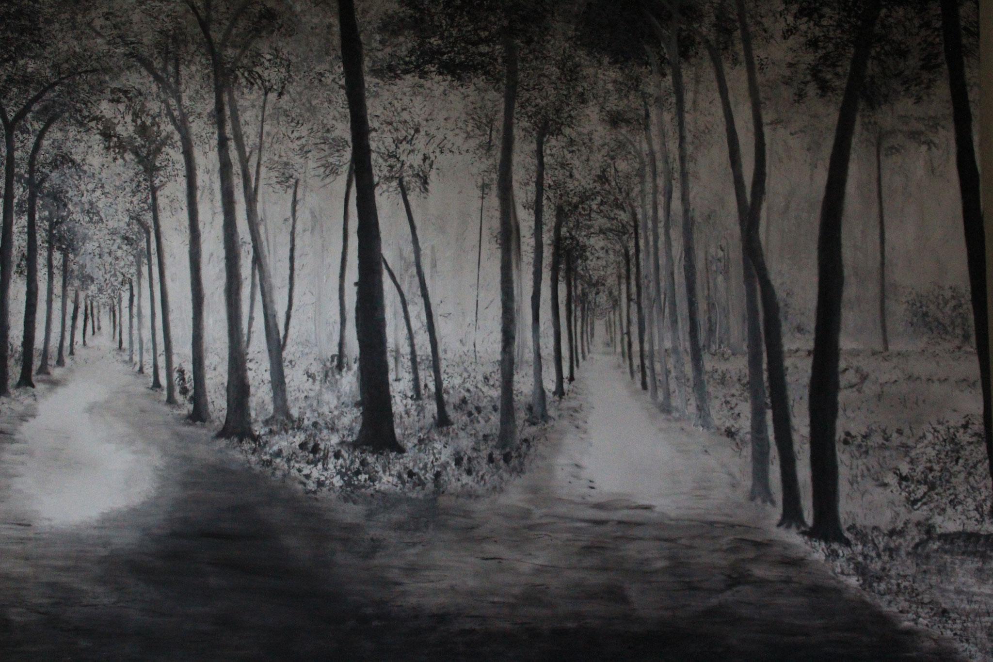 Tweesprong, zwart-wit, 2019, 150-100 cm