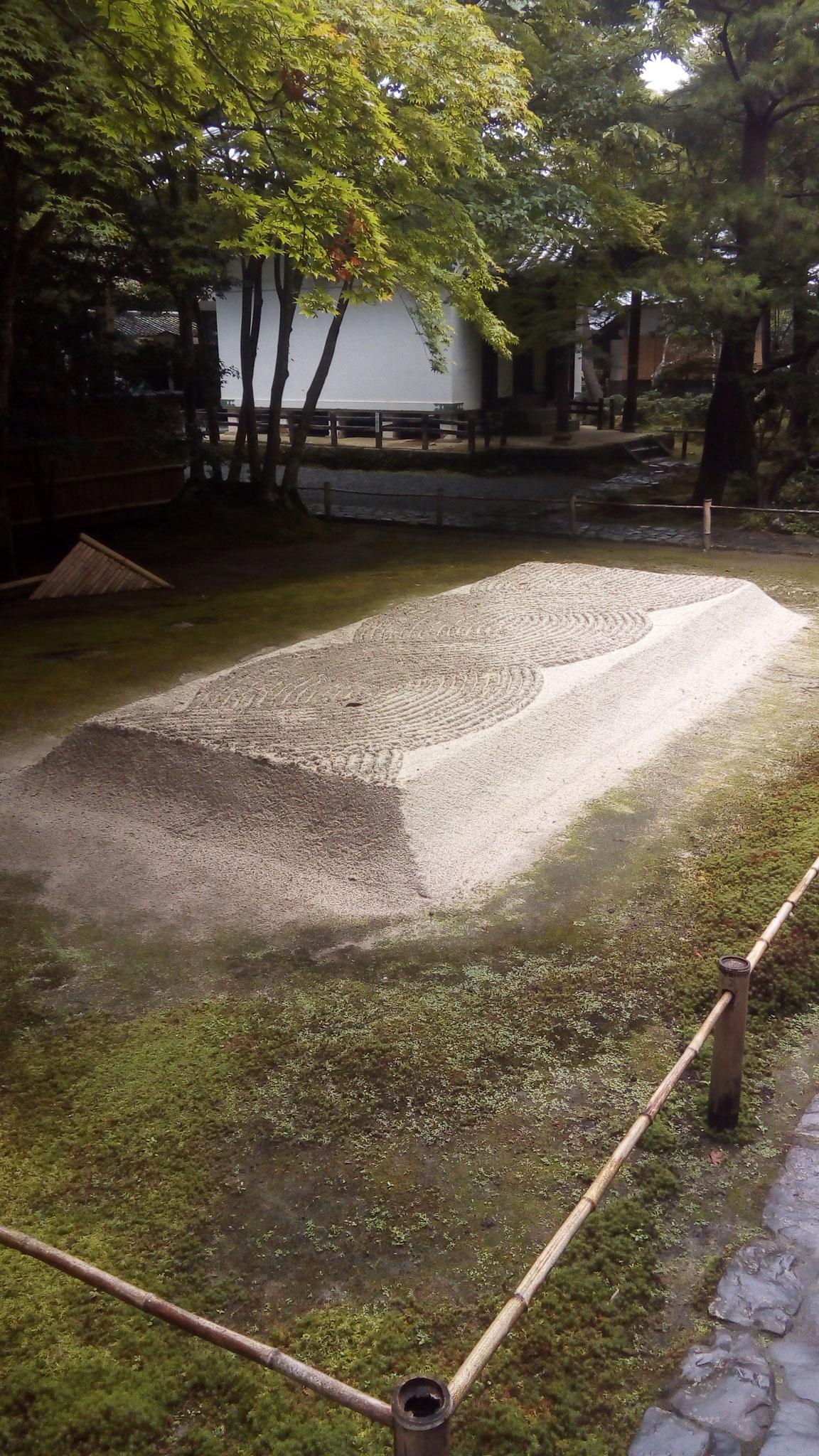 水の流れを示す砂壇