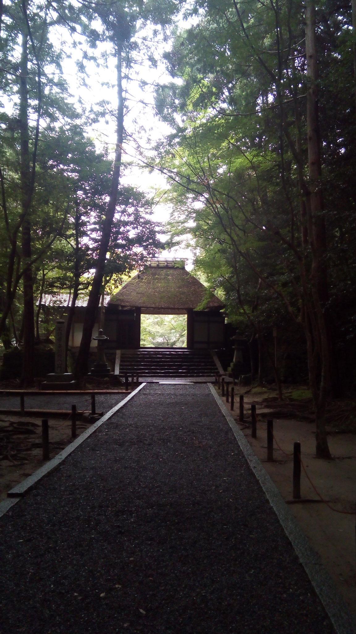 茅葺屋根の山門