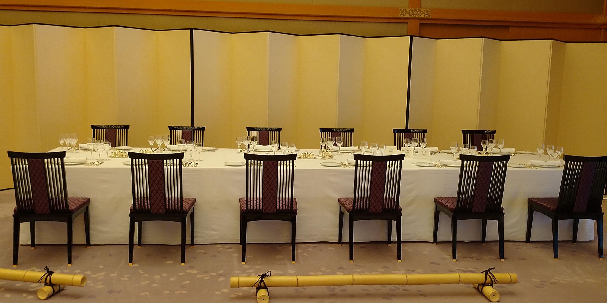 藤の間 宴会テーブル 最大120名までの大広間の晩餐室