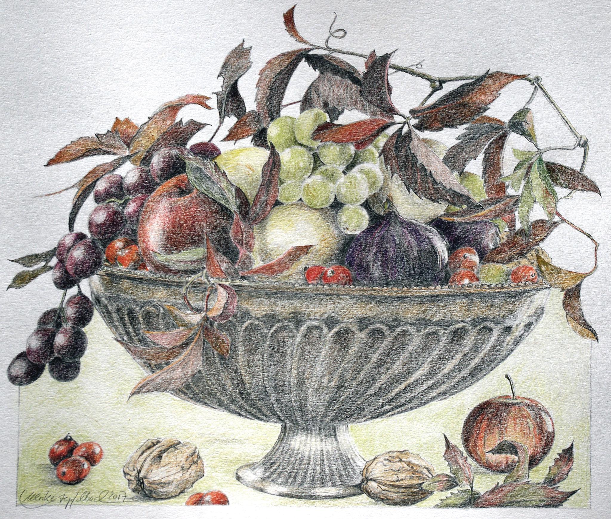 Schale mit früchten / Blei-und Farbstift / 40 x 50 cm