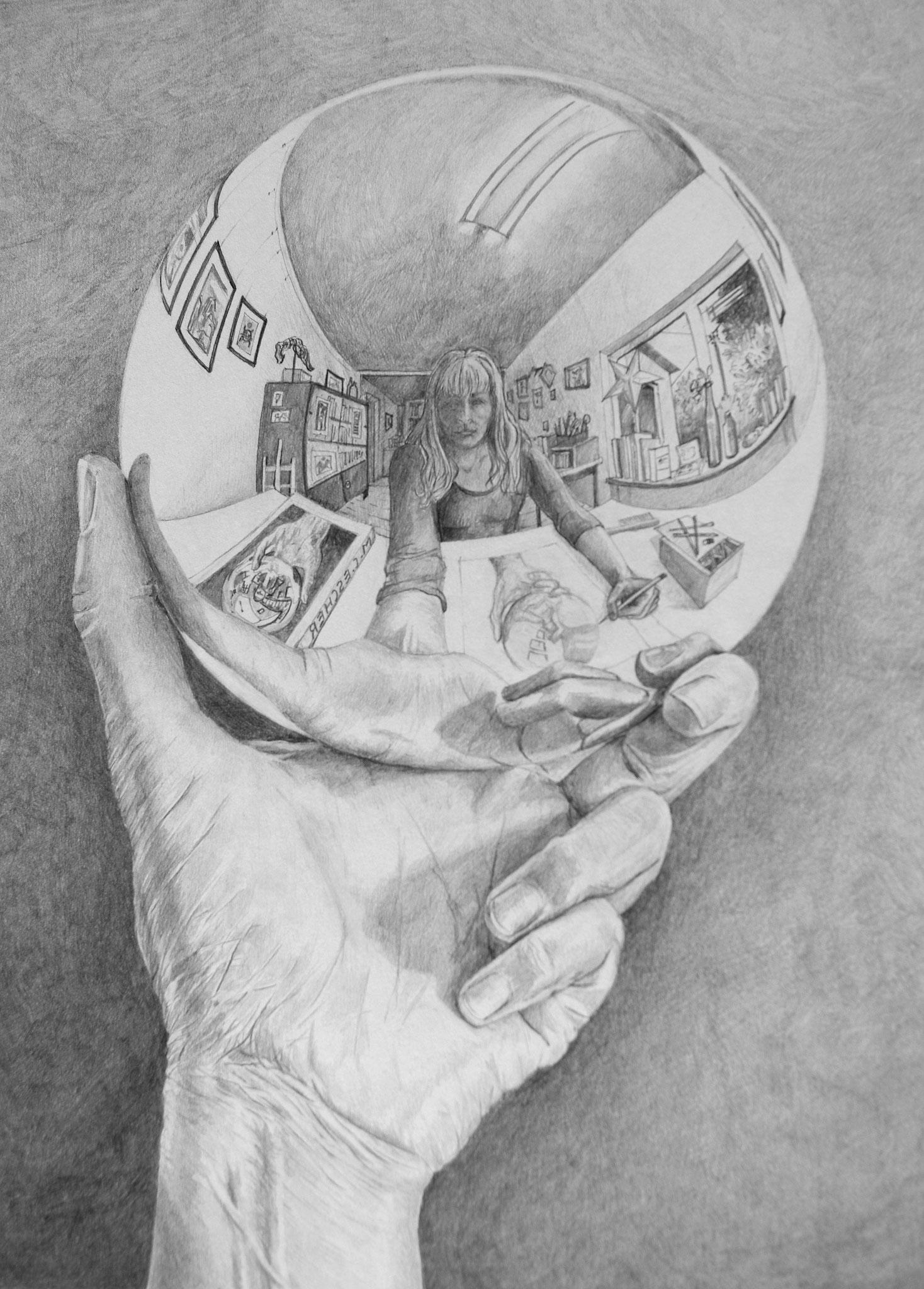 Selbst nach M.C. Escher / Bleistift / 40 x 50 cm