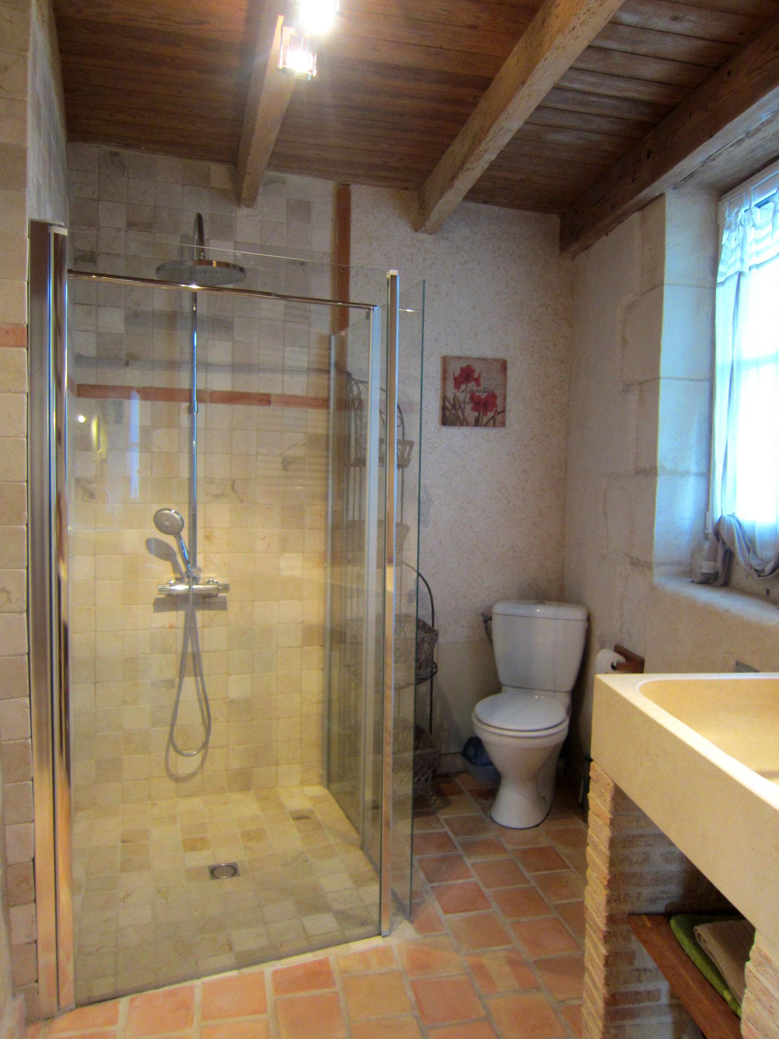 Salle d'eau - douche accessible en pierre, WC, lavabo en pierre