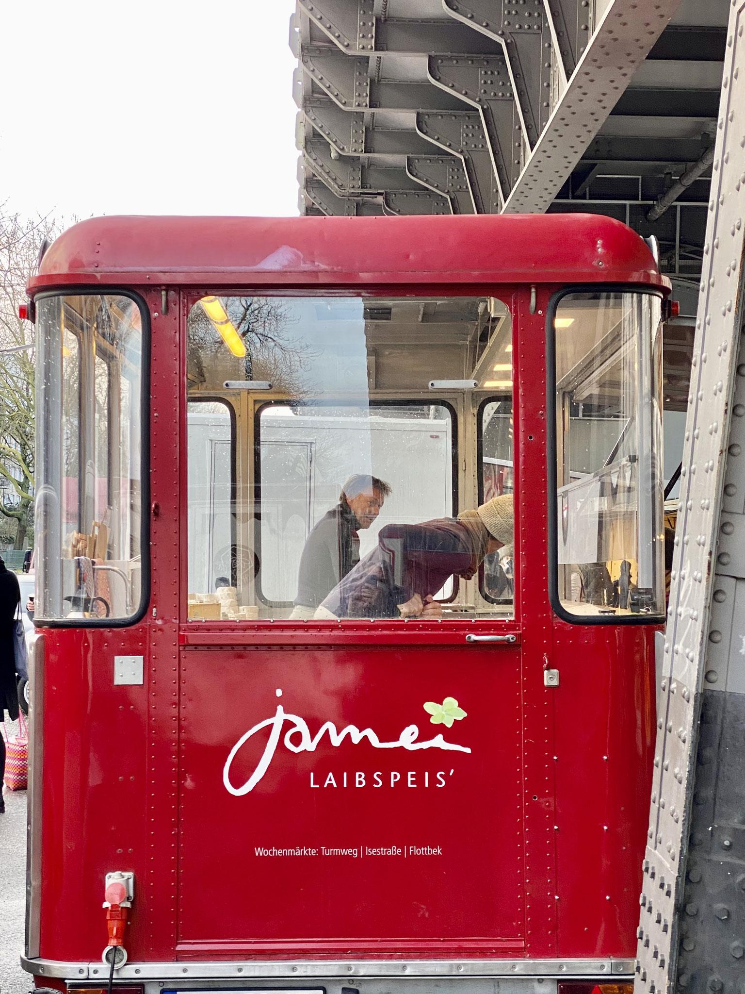 Jamei Laibspeis' - Marktstand auf dem Idemarkt, Hamburg
