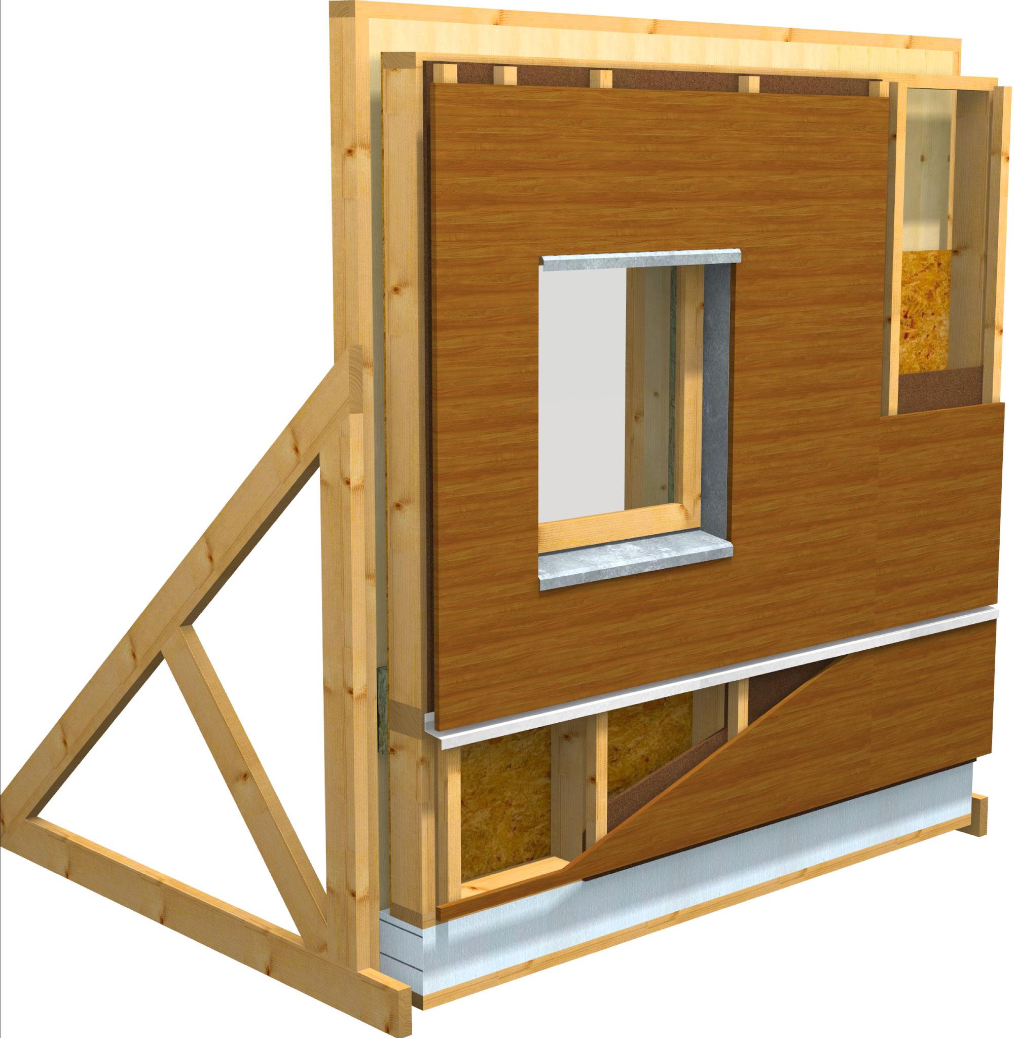 """ITE : OB + ouate de cellulose + panneaux fibres de bois pare-pluie + lame d'air + bardage bois - version """" préfa. """""""