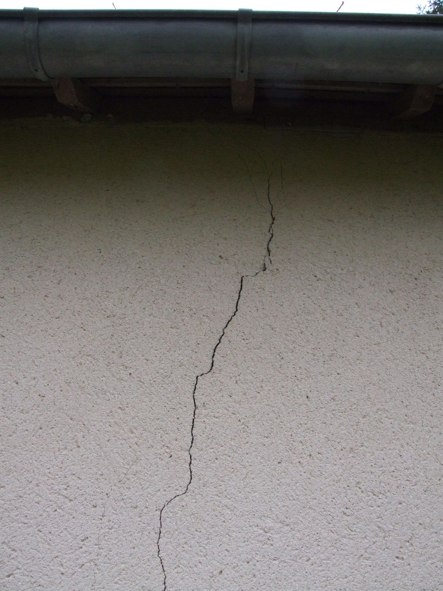 Fissure sur mur de garage : zoom 1