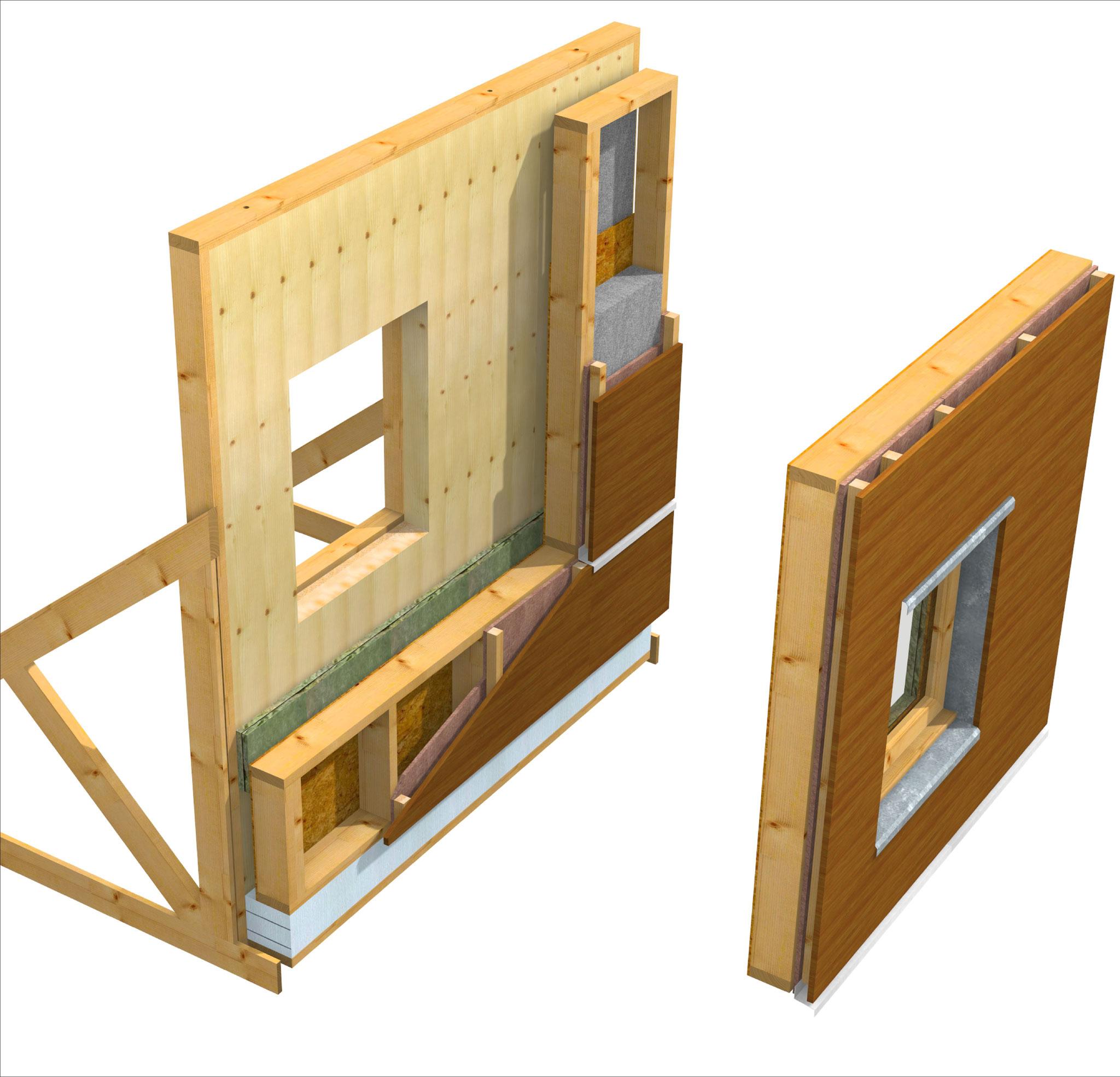 """ITE : OB + ouate de cellulose + panneaux fibres de bois pare-pluie + lame d'air + bardage bois - version """" préfa. """" vue éclatée"""