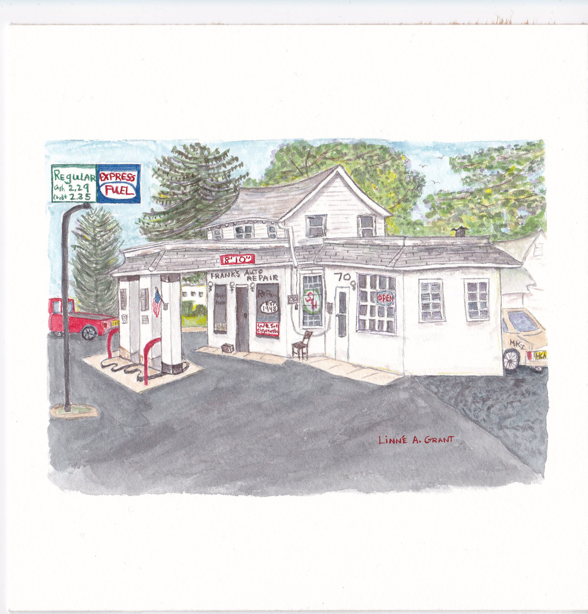 Frank's Auto Repair Englishtown NJ Watercolor by Linné Grant