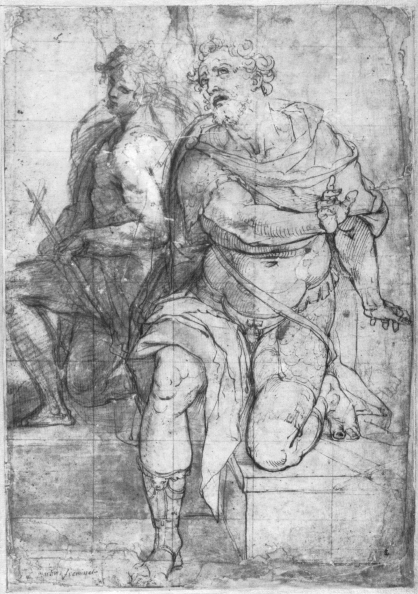 Martin Fréminet:  Zwei sitzende männliche Figuren: Johannes der Täufer und der Apostel Paulus