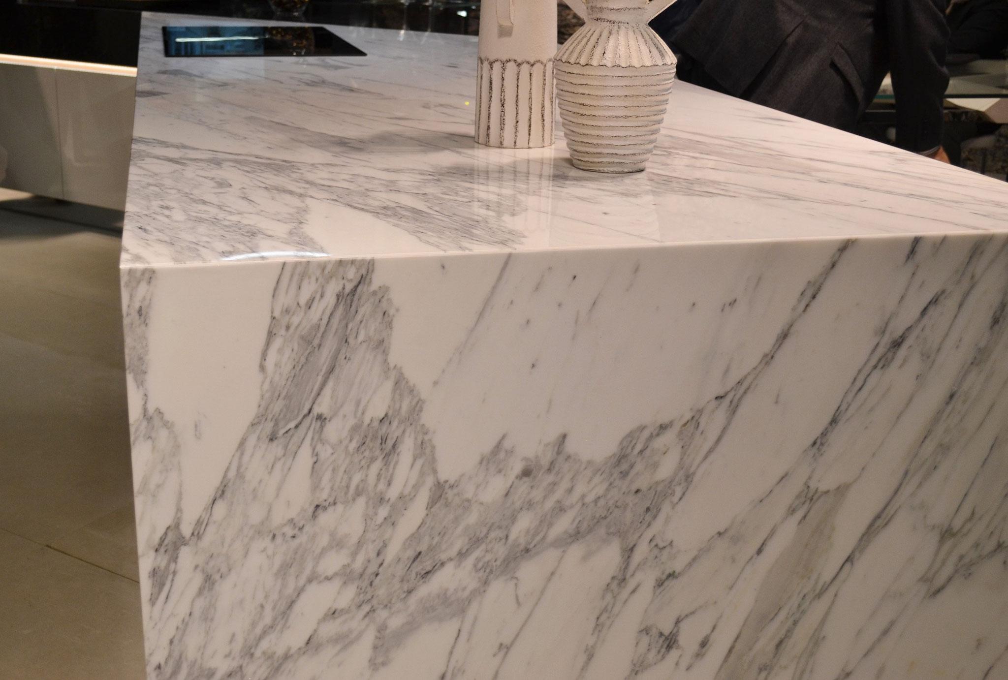 Calacatta marble cooking isle