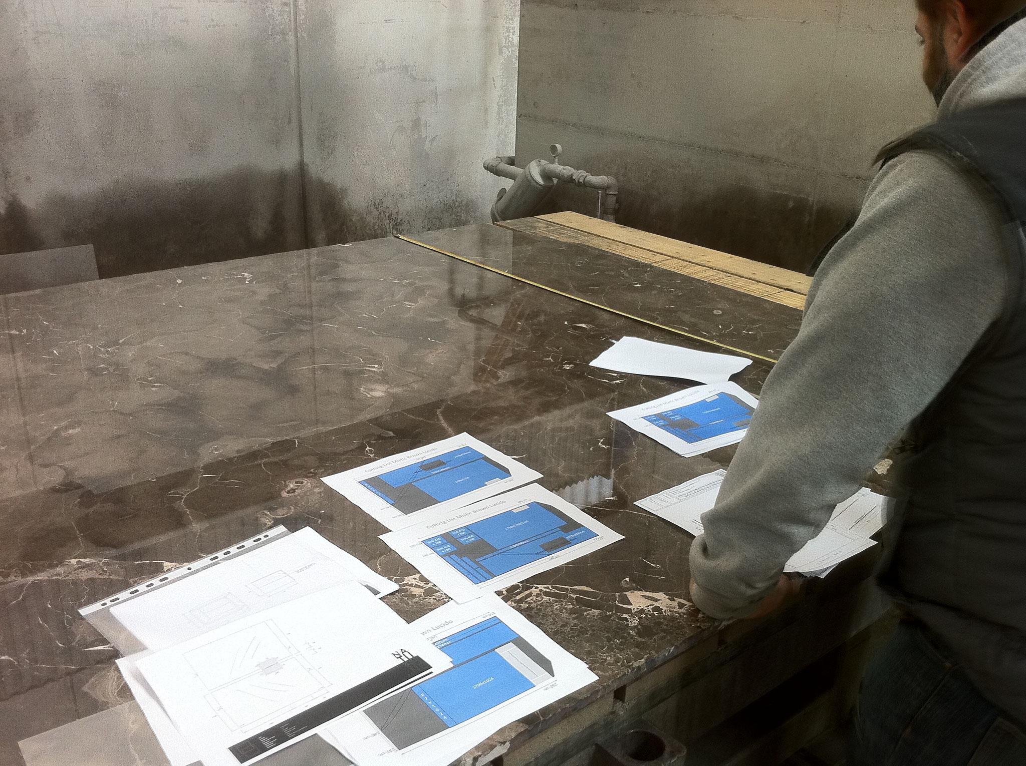 Planning van het zagen van de platen