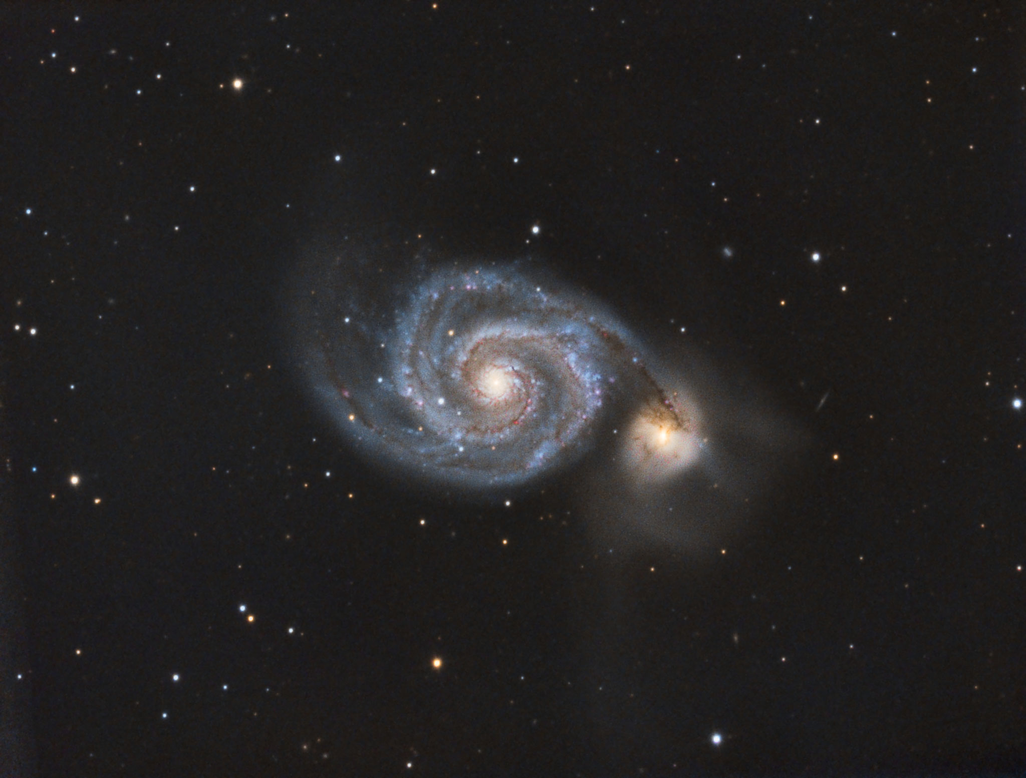 """M 51, TS RC8"""", Astro Physics Reducer, Atik 428color, Baader Neodymiumfilter: 50x240s, 41x300s, IDAS-LPS-P2: 24x600s , 2x drizzle in DSS"""