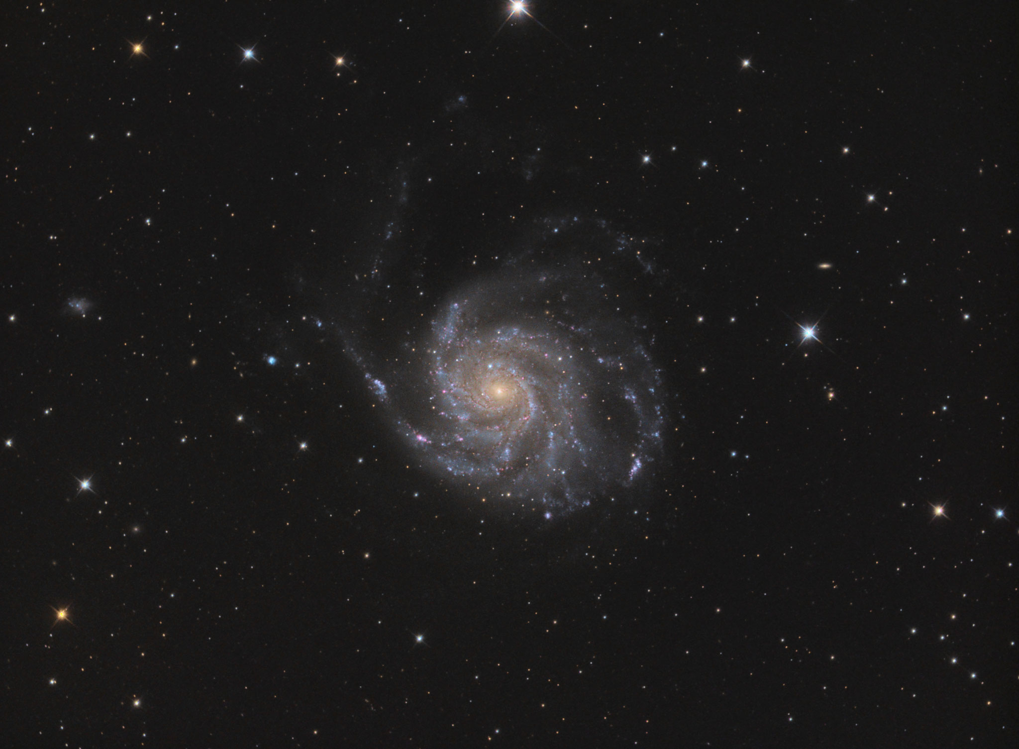 "M 101, TS RC8"", Astro Physics Reducer, ASI1600MMPro, L 122x180s, RGB je 20x180s, IDAS-LPS P2, Baader RGB Filter"