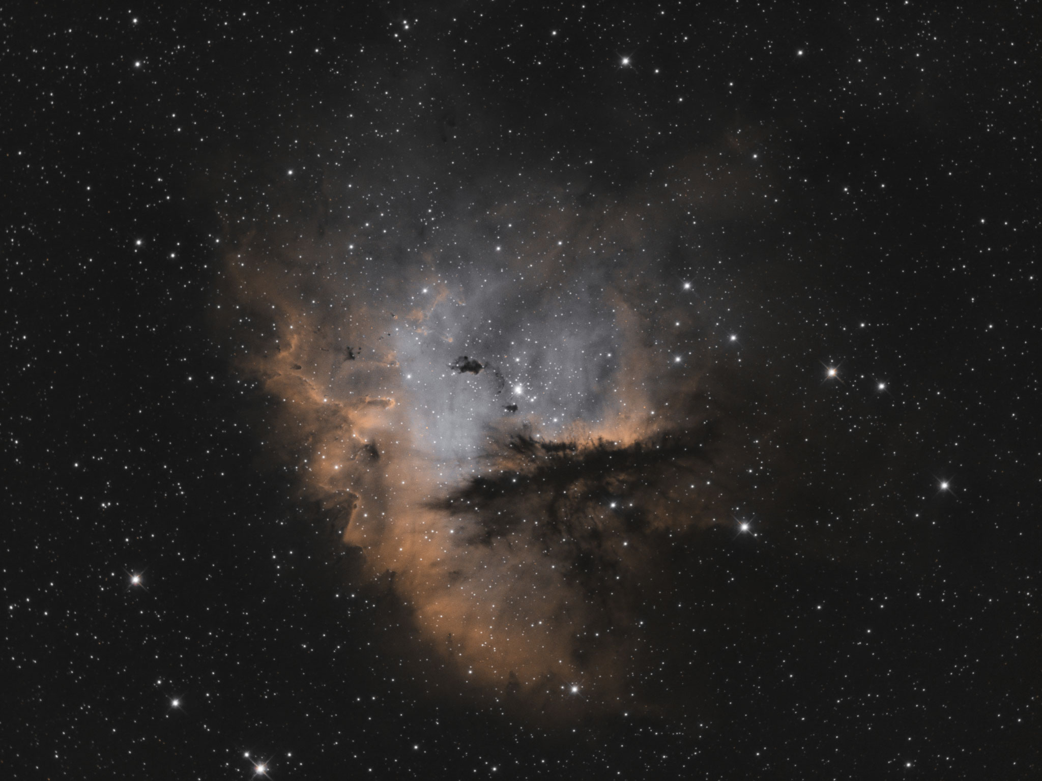 """NGC 281, TS RC8"""", Astro Physics Reducer, ASI1600MMPro, Ha 135x180s, OIII 80x180s"""
