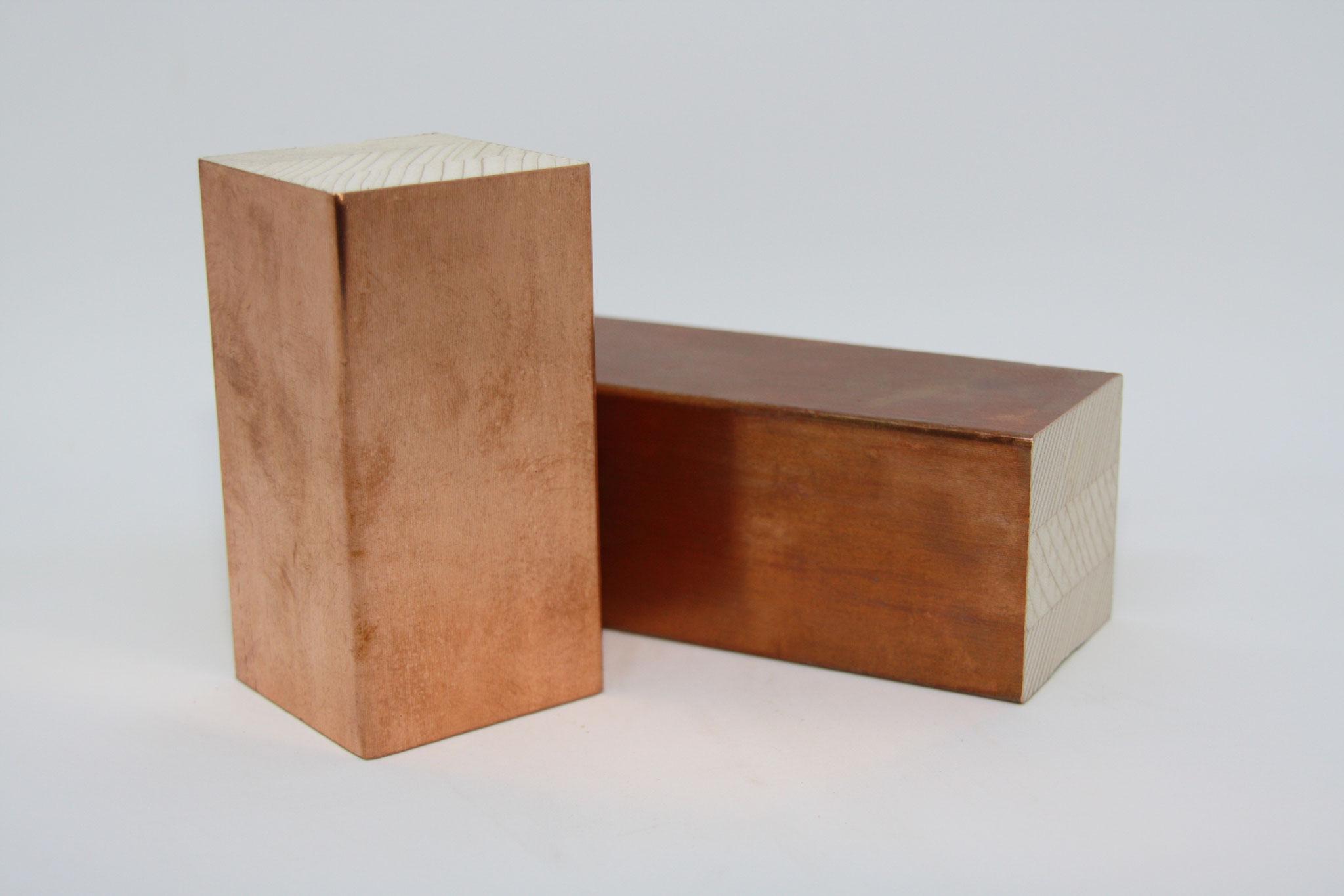 Deckenleiste - Einsatz: vorgefertigte Deckenelemente, Träger: Fichte keilverzinkt, Oberfläche: echtes Kupfer,  Schutzfolie