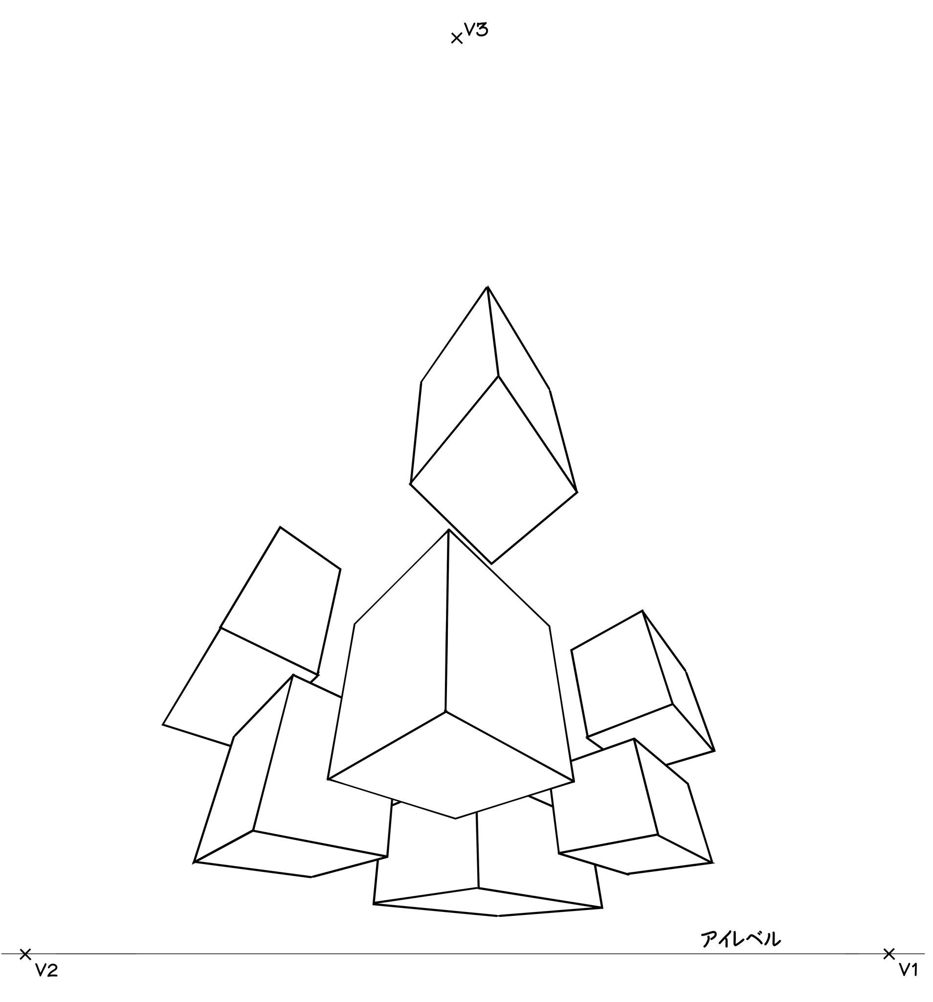 ⑨この手順で、いくつかの直方体を描いてください