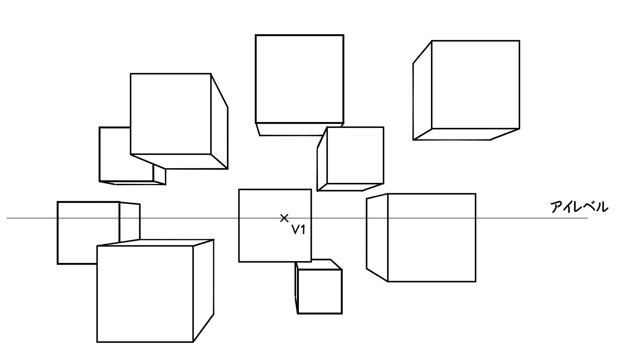 ⑧この手順で、いくつかの立方体を描く練習をしてみて下さい