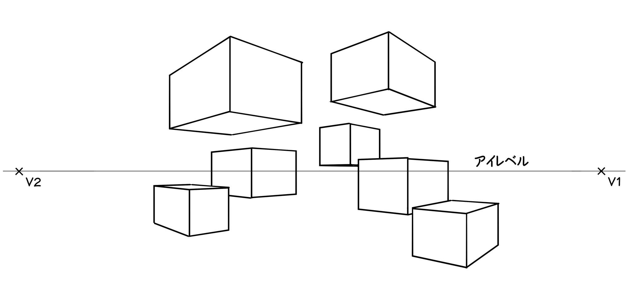 ⑦さらに、いくつかの直方体を描き入れて練習してください