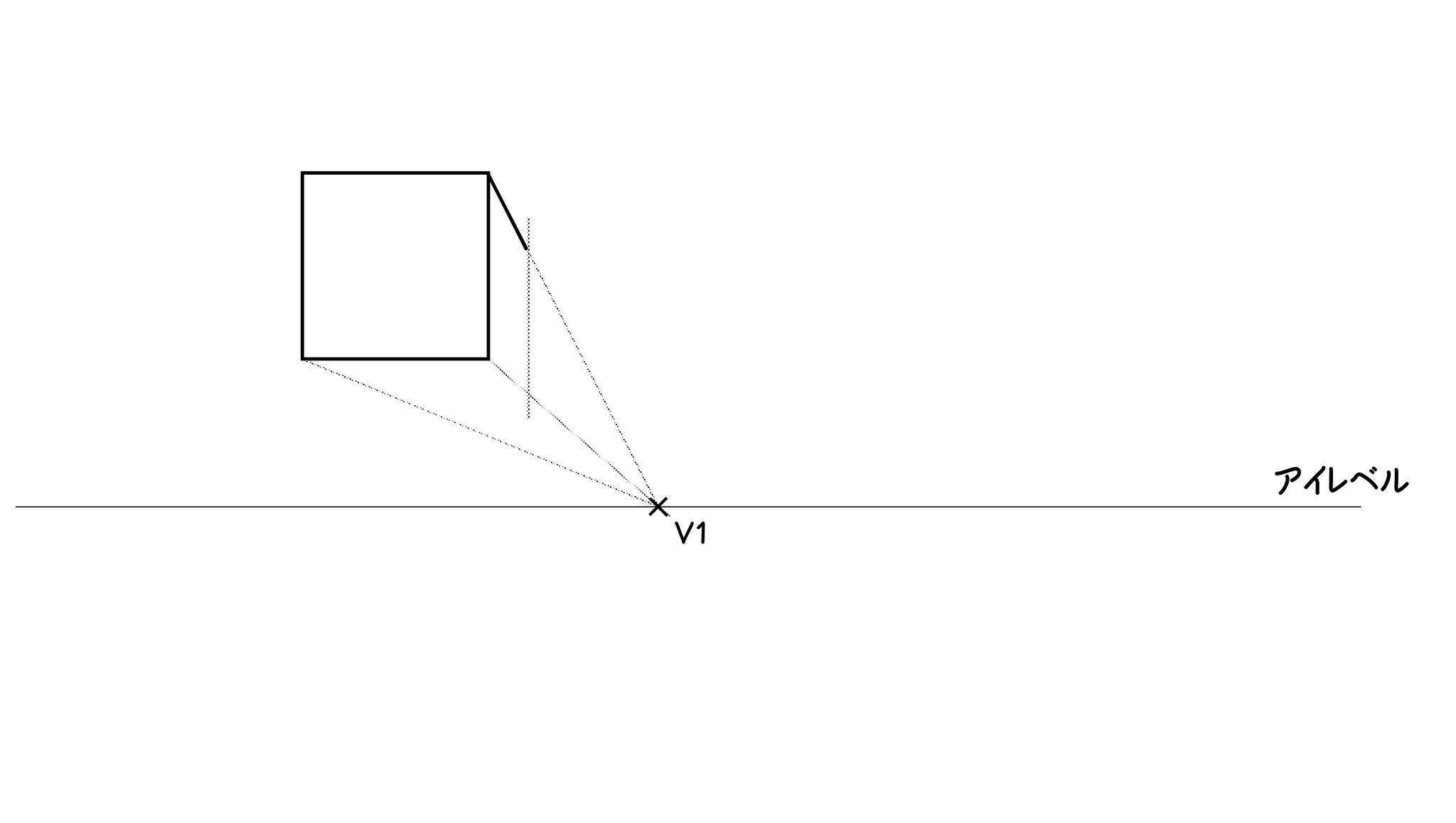 ⑤今引いた縦辺の端から「高さ方向」の垂直な補助線を引きます