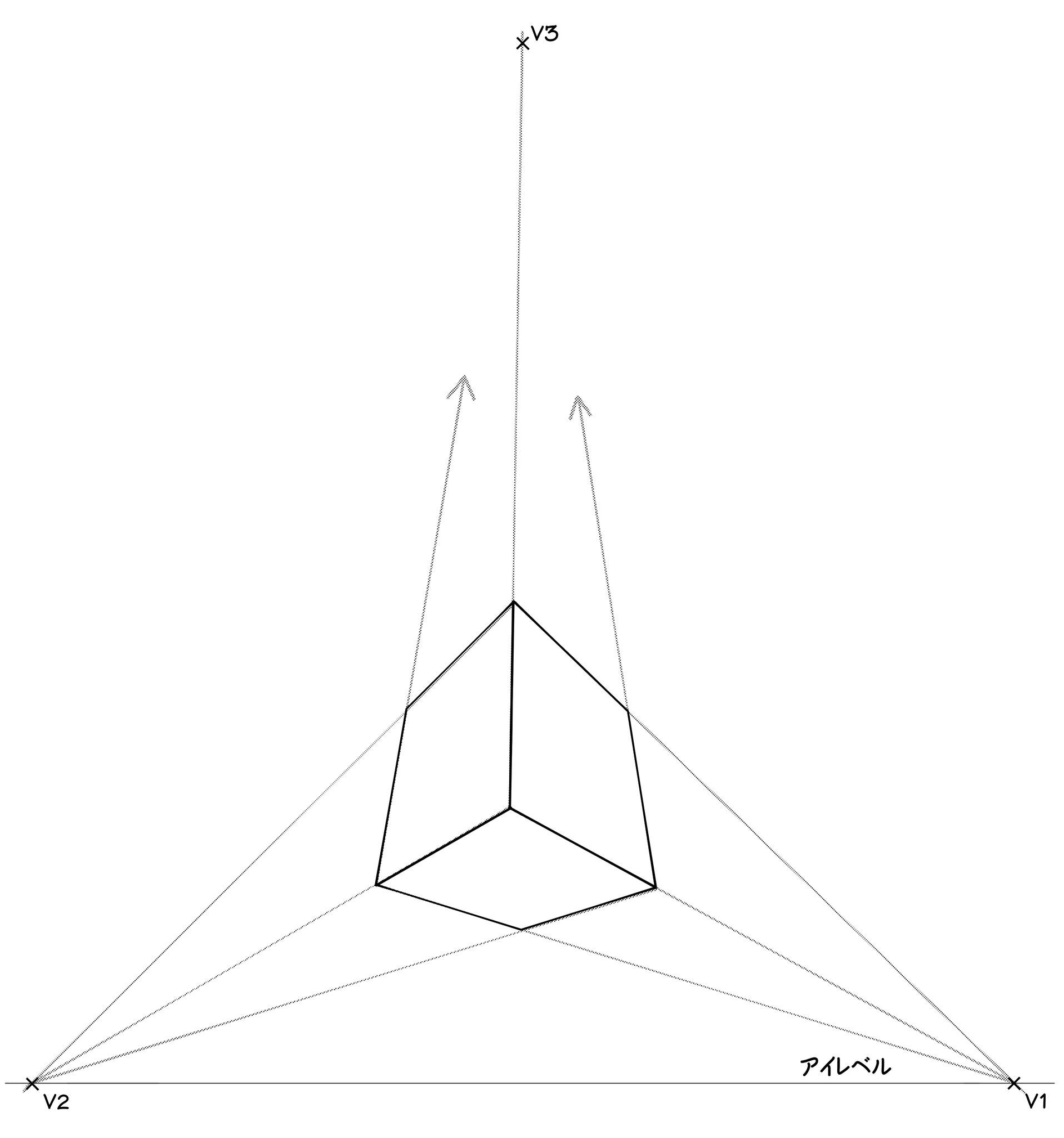 ⑧それぞれの補助線の交点から、直方体が描けるはずです