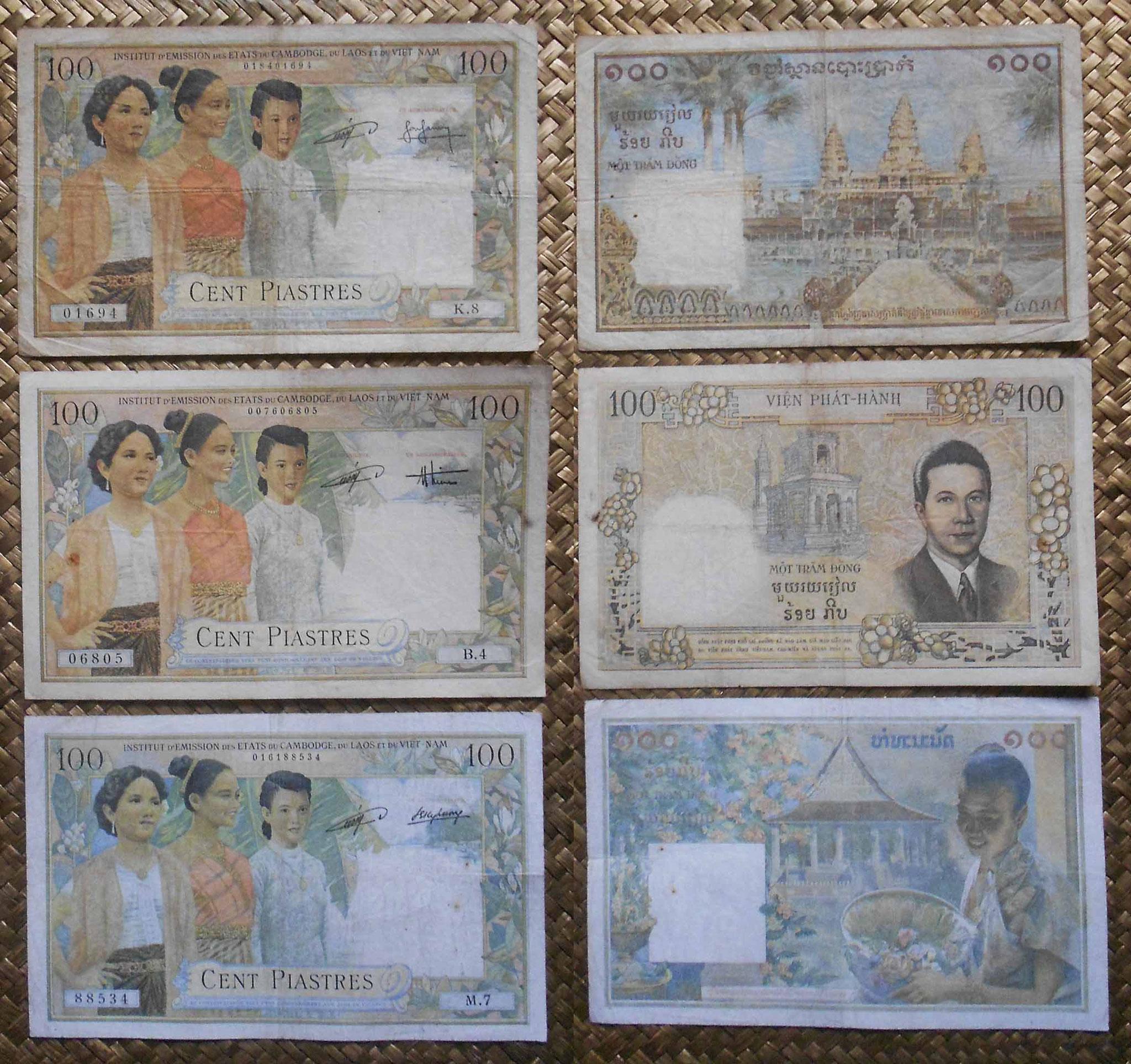 Indochina emisiones 100 piastras 1954 Camboya-Vietnam-Laos anversos-reversos