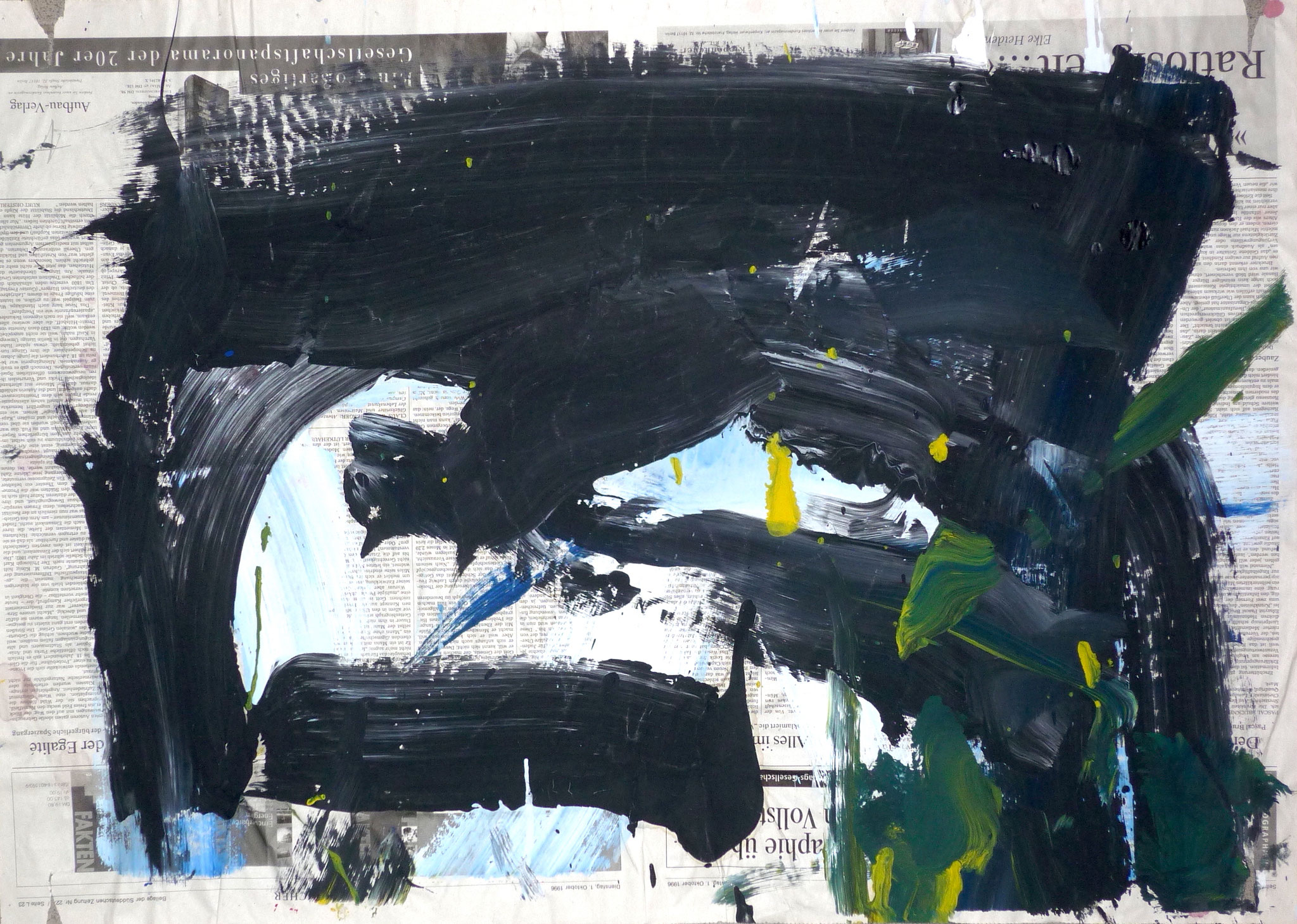 Mess Painting, 1996, 77x57cm, Zeitung