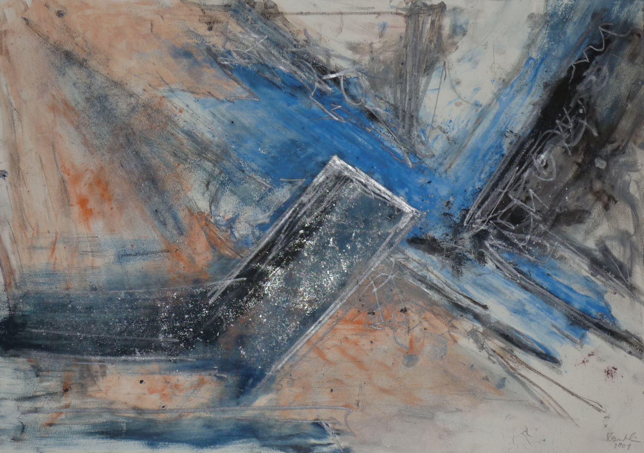 Blauer Winkel, 2001, 59x42cm, Papier
