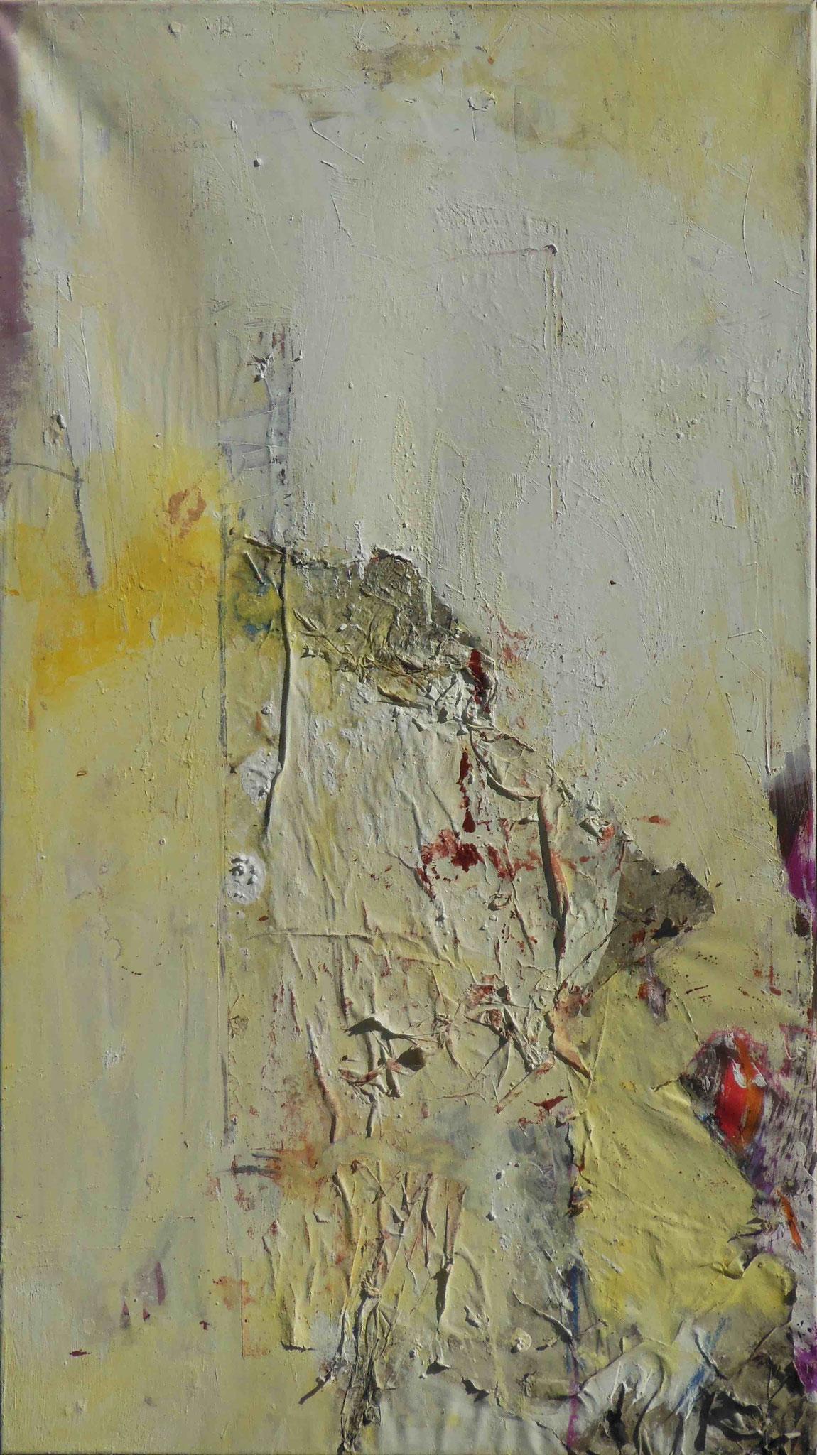 Zugeklebt, 2014, 80x140cm, Mischtechnik / Leinwand
