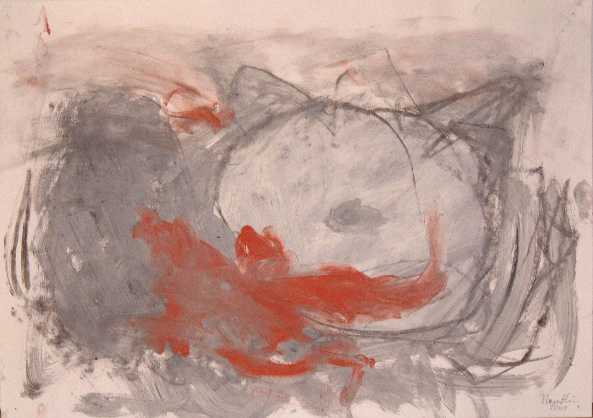 Katze, 2001, 59x42cm, Papier