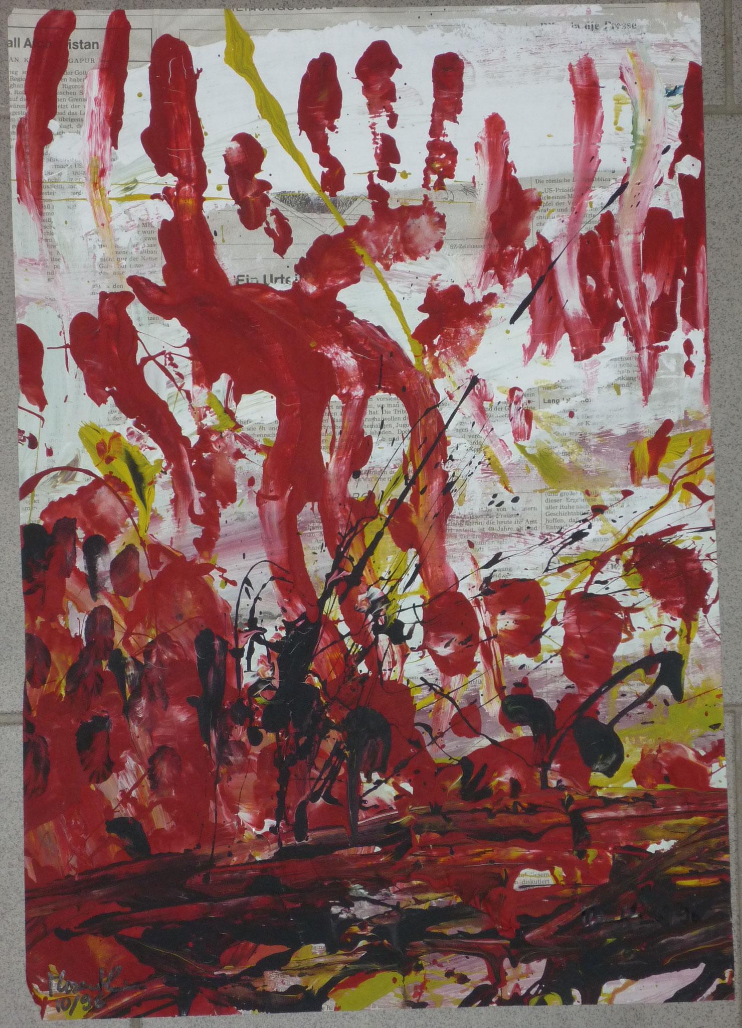 Rote Finger, 1996, 34x50cm, Zeitung