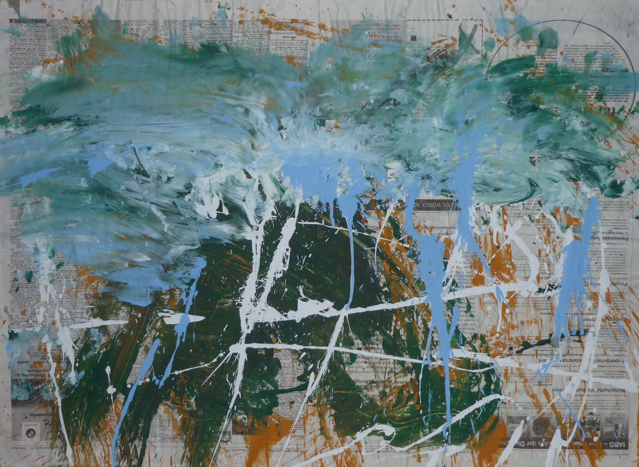 Mess Painting V, 1999, 77x57cm, Zeitung