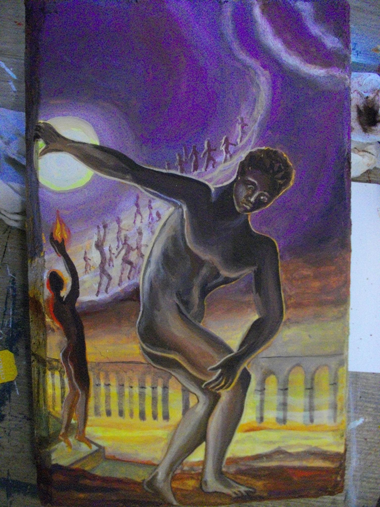 """Petit fresco (chaux + pigments) """"Athlète cosmique"""" S. Dali"""