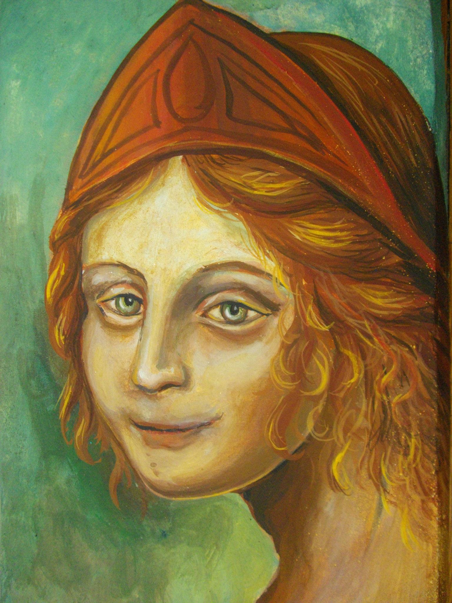 Petit fresco (chaux + pigments) Tête d'enfant