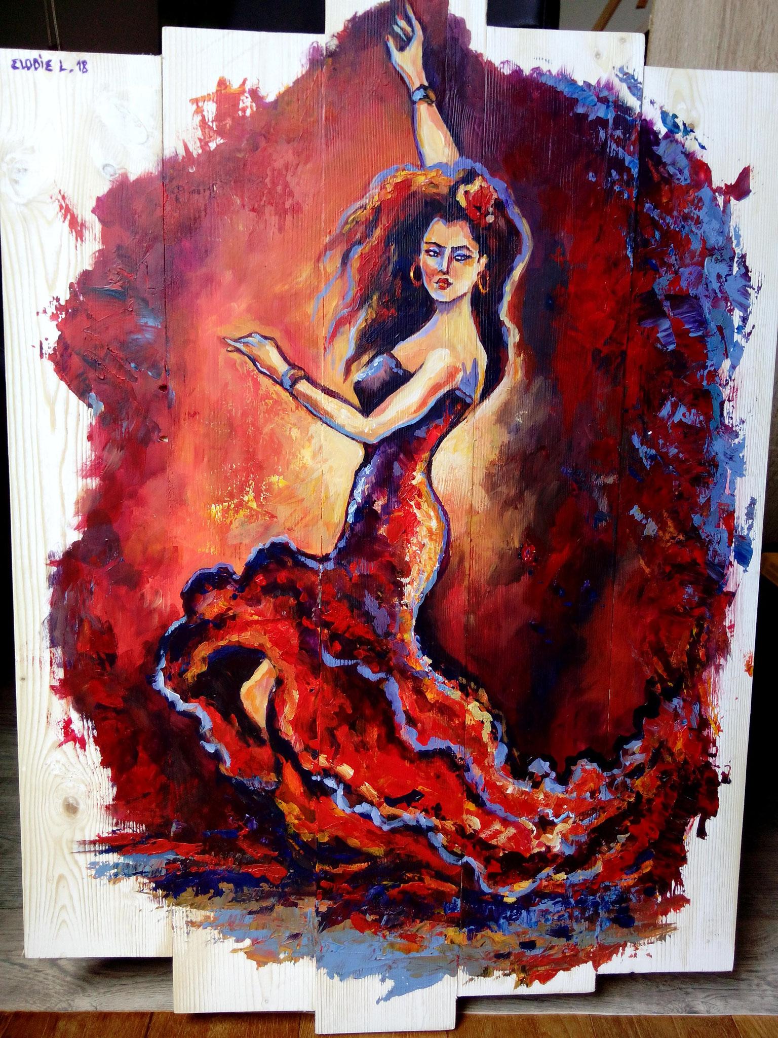 Le Flamenco Acrylique sur bois
